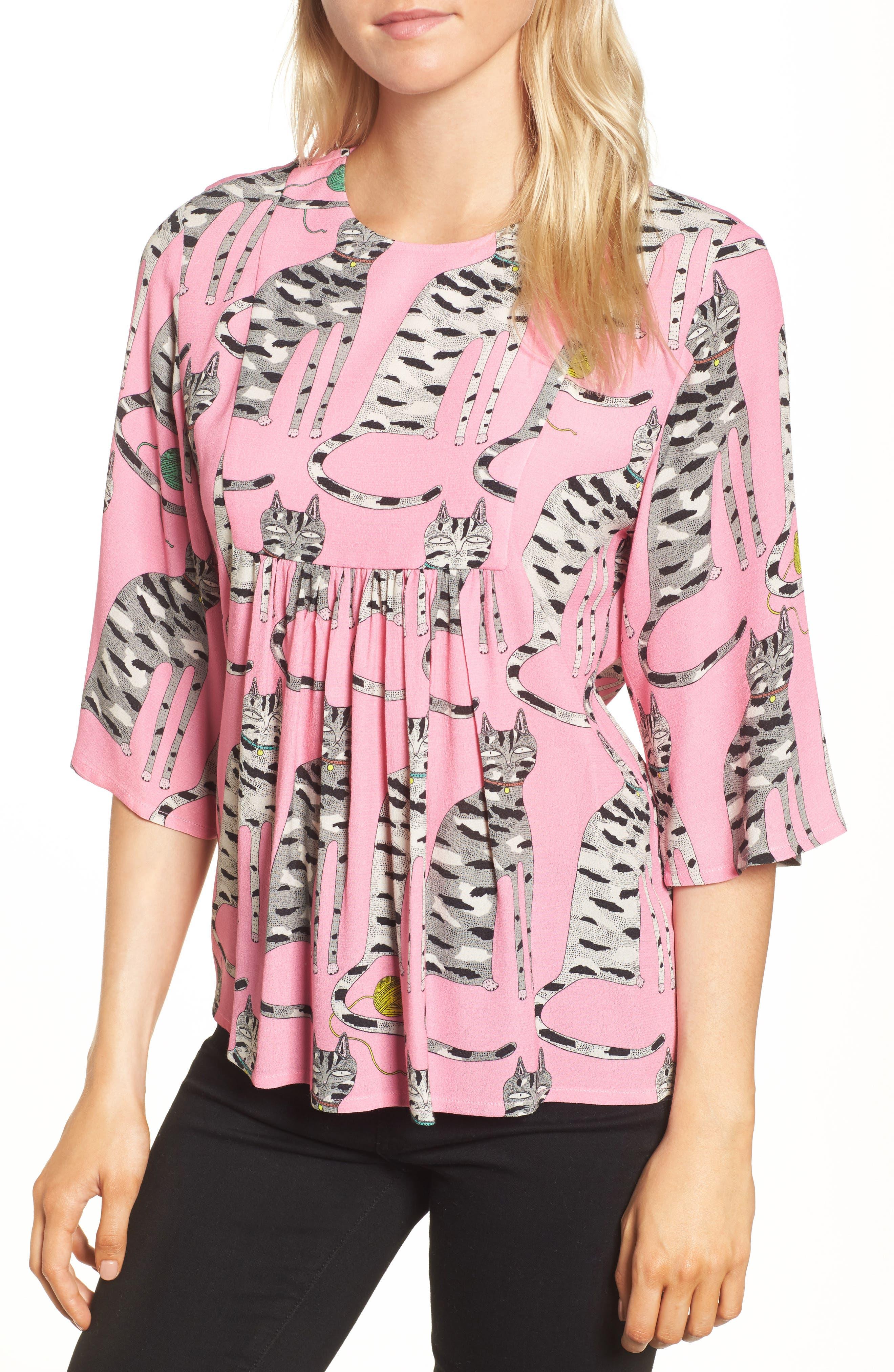 Cat Print Blouse,                         Main,                         color, Pink