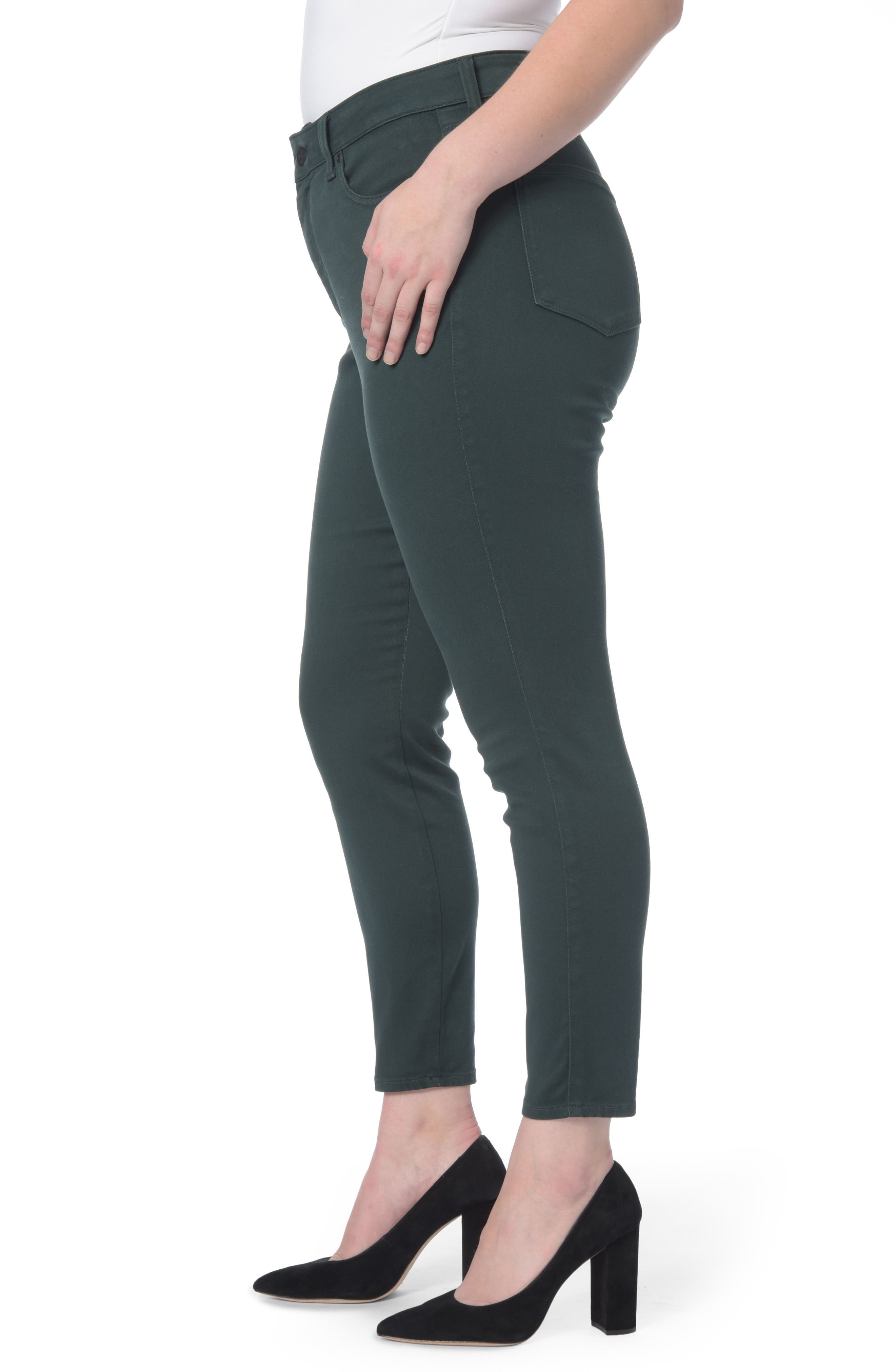 Ami Stretch Skinny Jeans,                             Alternate thumbnail 3, color,                             Green