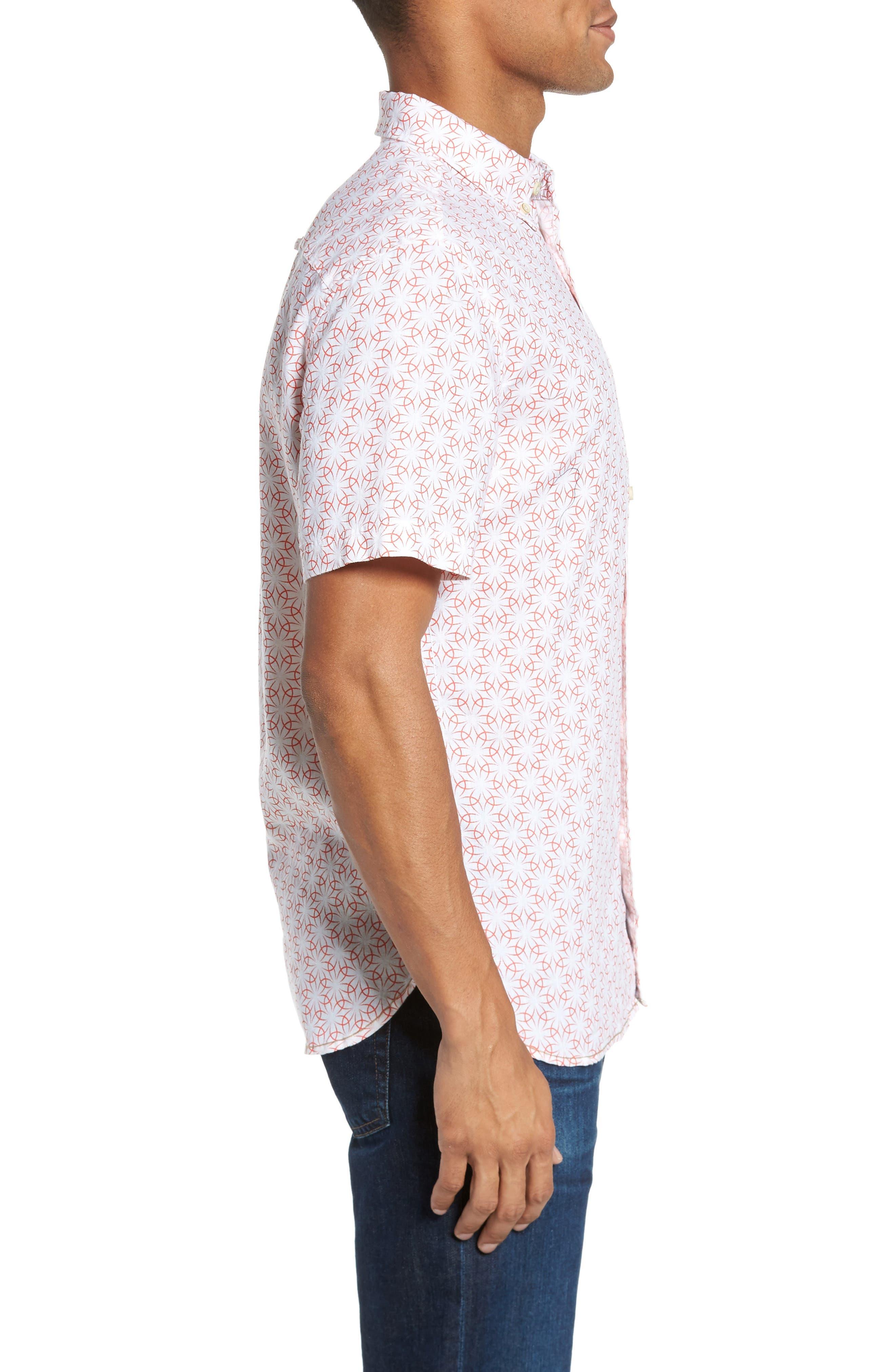 Gradient Flower Linen Sport Shirt,                             Alternate thumbnail 3, color,                             White/ Coral