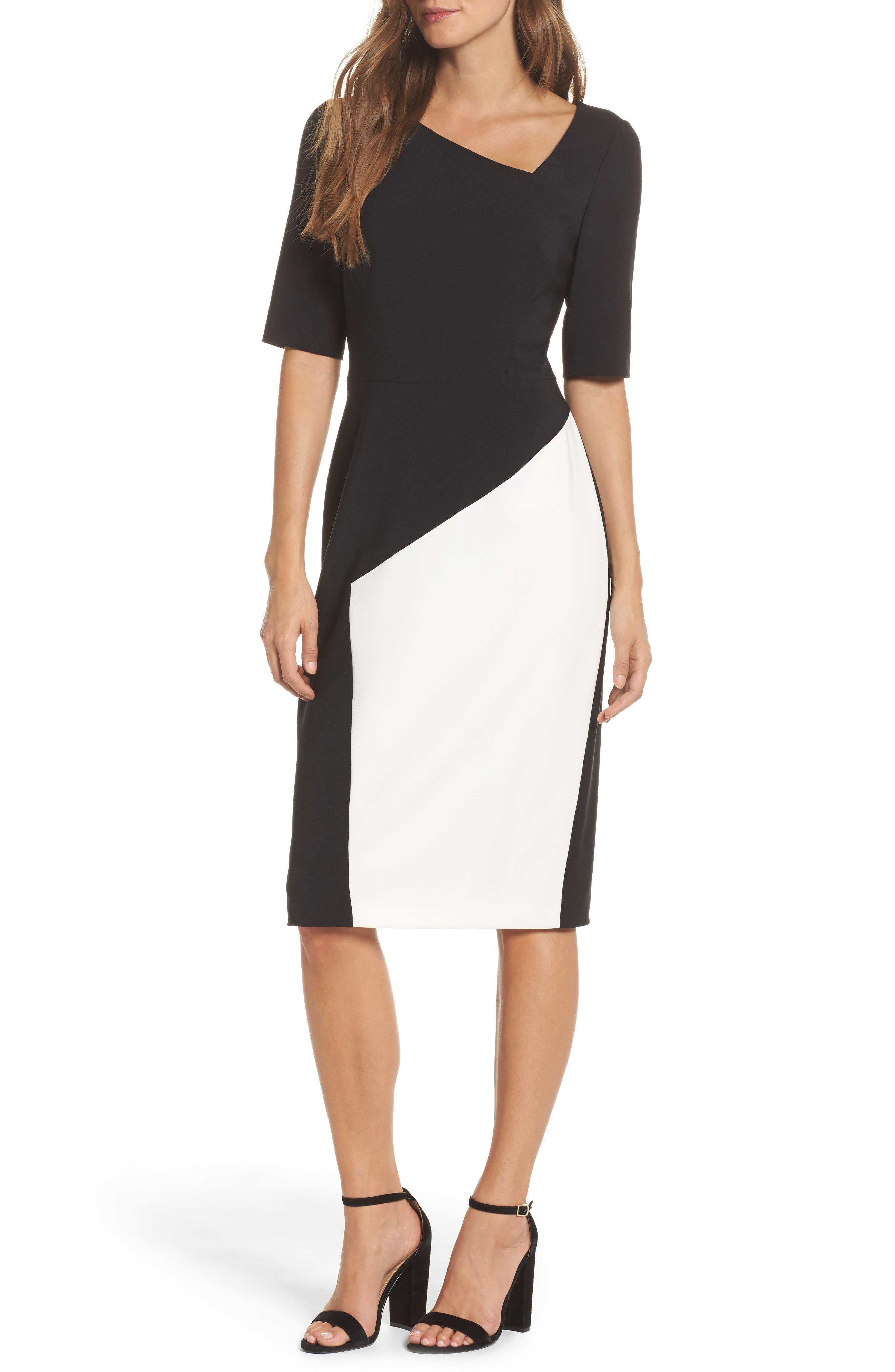 Asymmetrical Sheath Dress,                         Main,                         color, Black/ Ivory