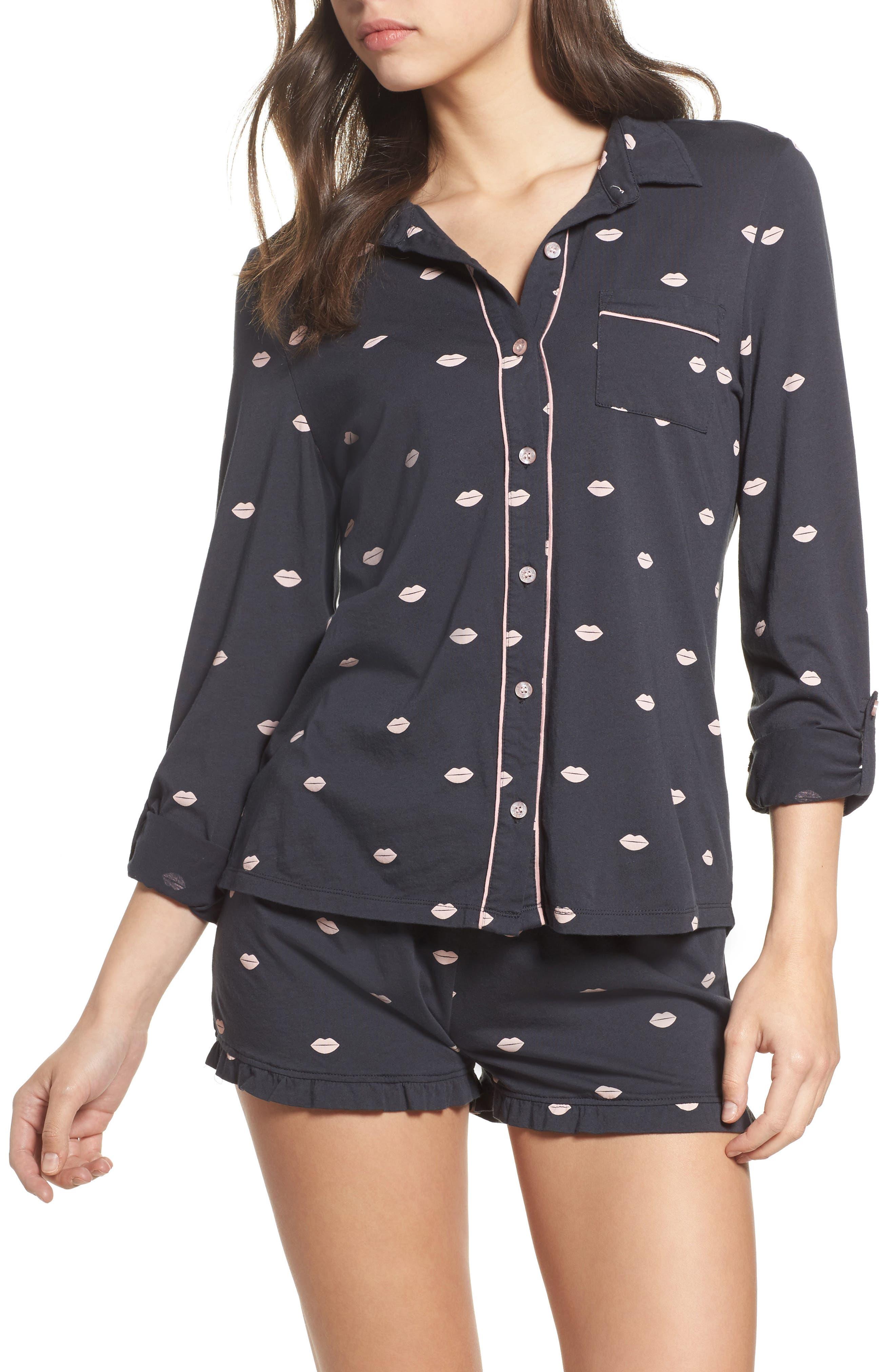 Heart Print Short Pajamas,                         Main,                         color, Smoke