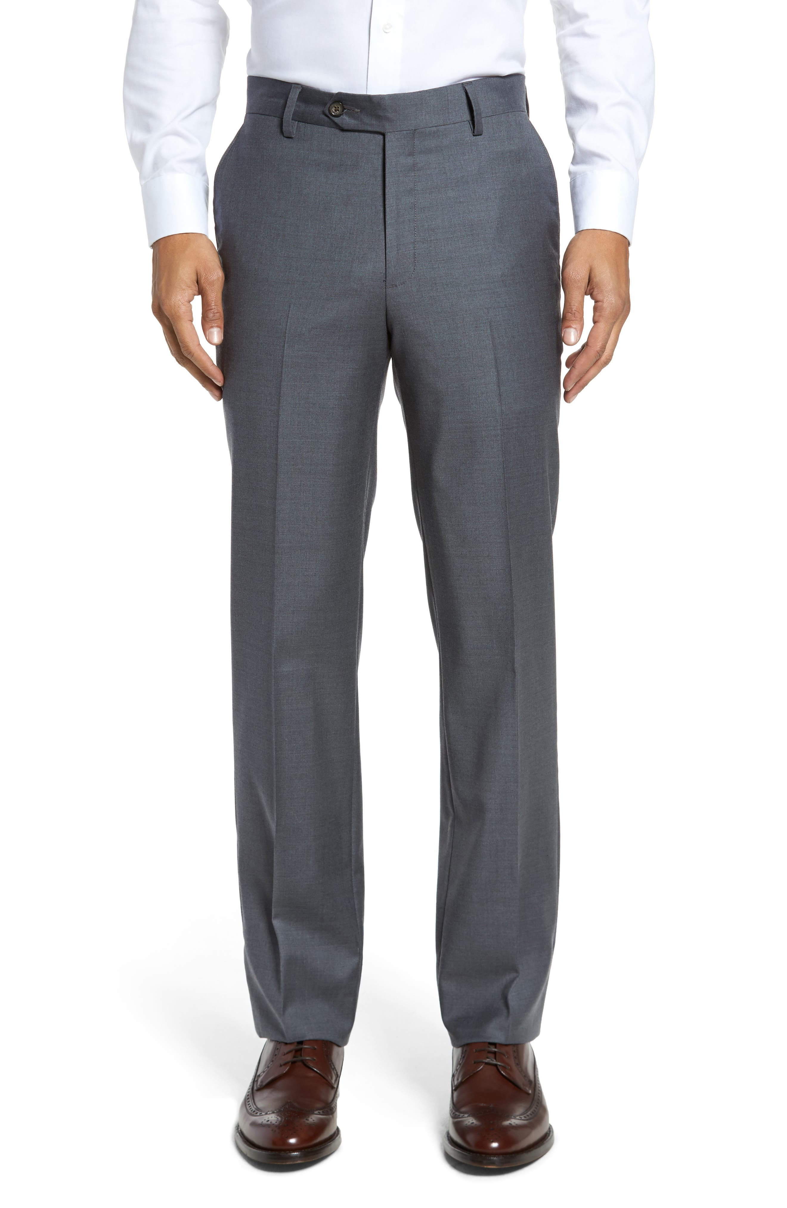 Flat Front Stretch Solid Wool Trousers,                         Main,                         color, Medium Grey