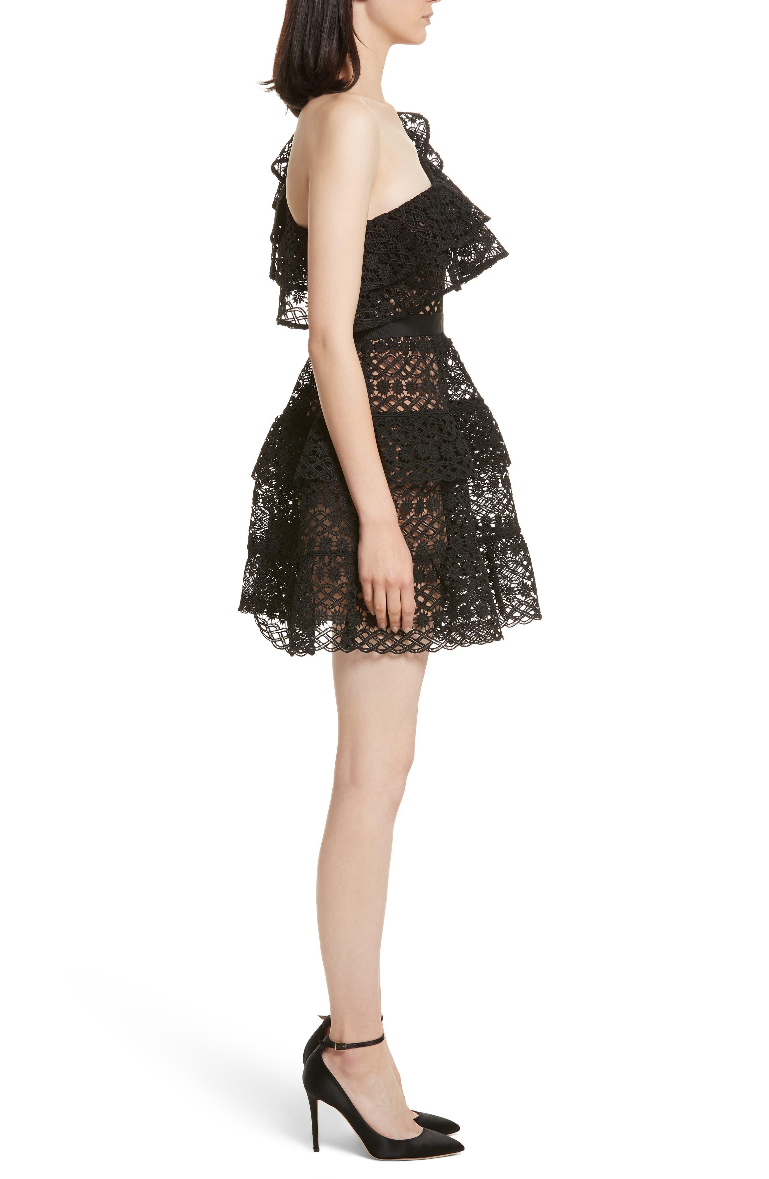 Floral Chain Lace One-Shoulder Dress,                             Alternate thumbnail 3, color,                             Black