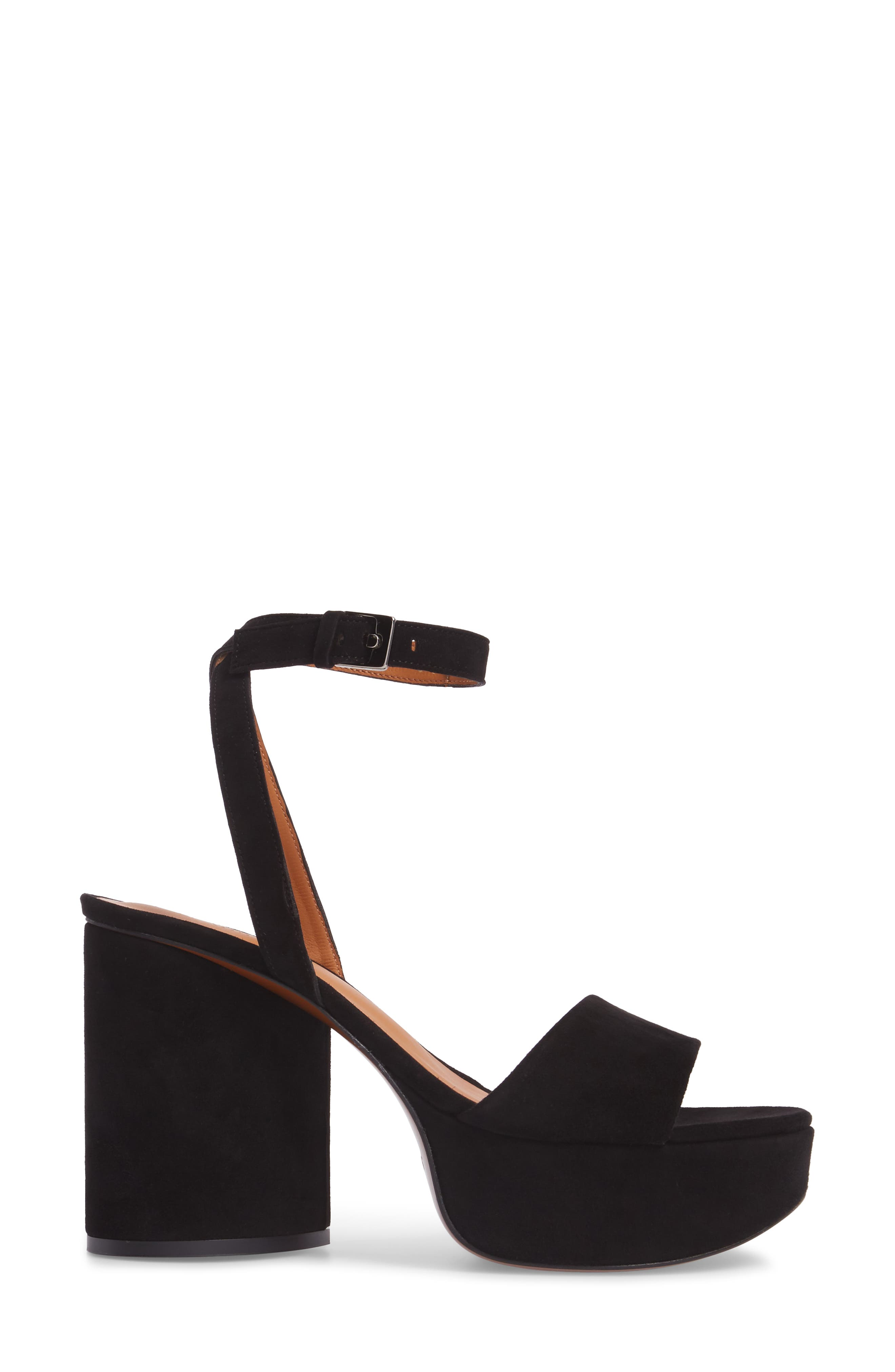 Vionica Platform Ankle Strap Sandal,                             Alternate thumbnail 3, color,                             Black