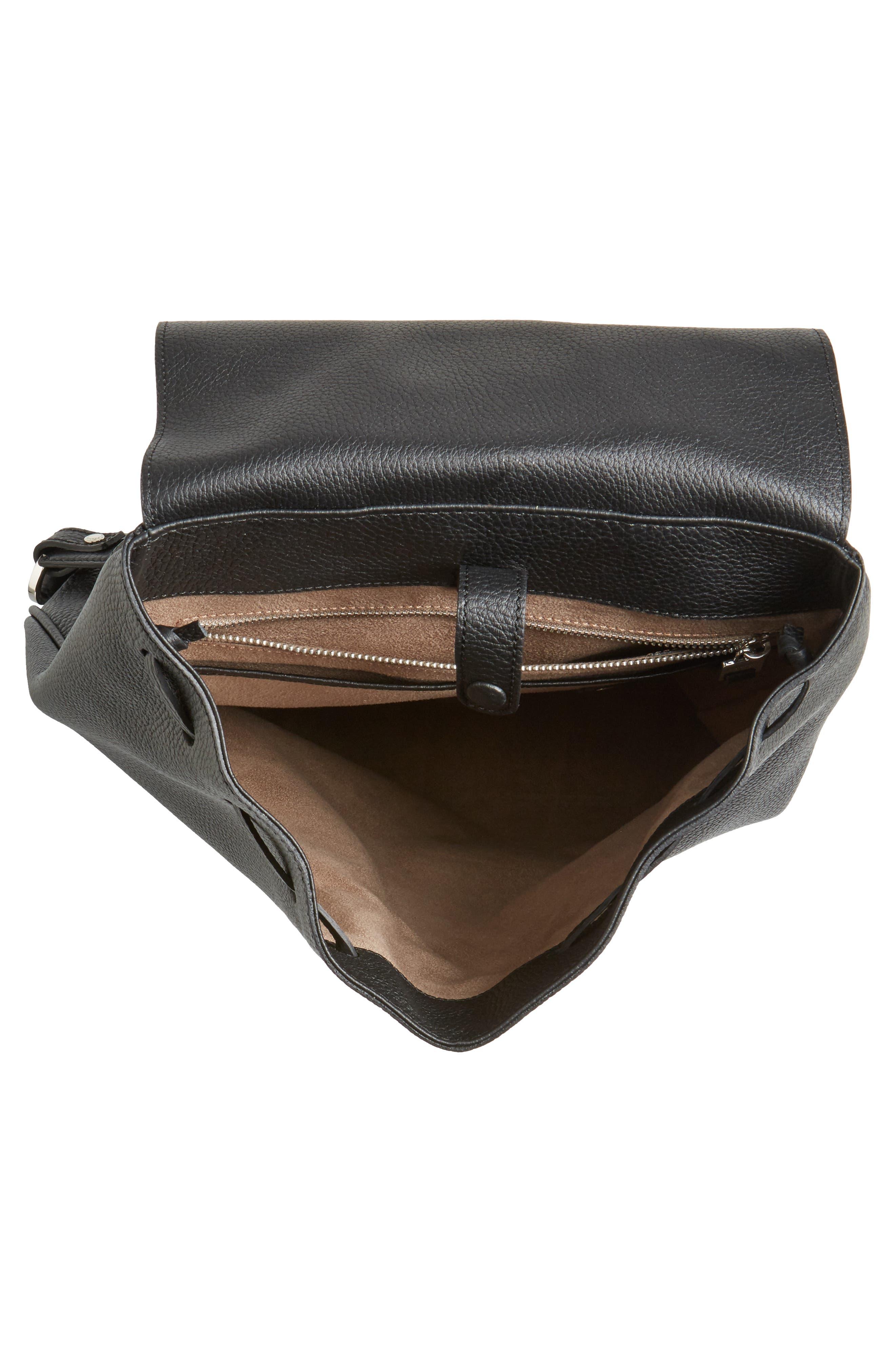 Carmen Cachemire Leather Backpack,                             Alternate thumbnail 4, color,                             Black