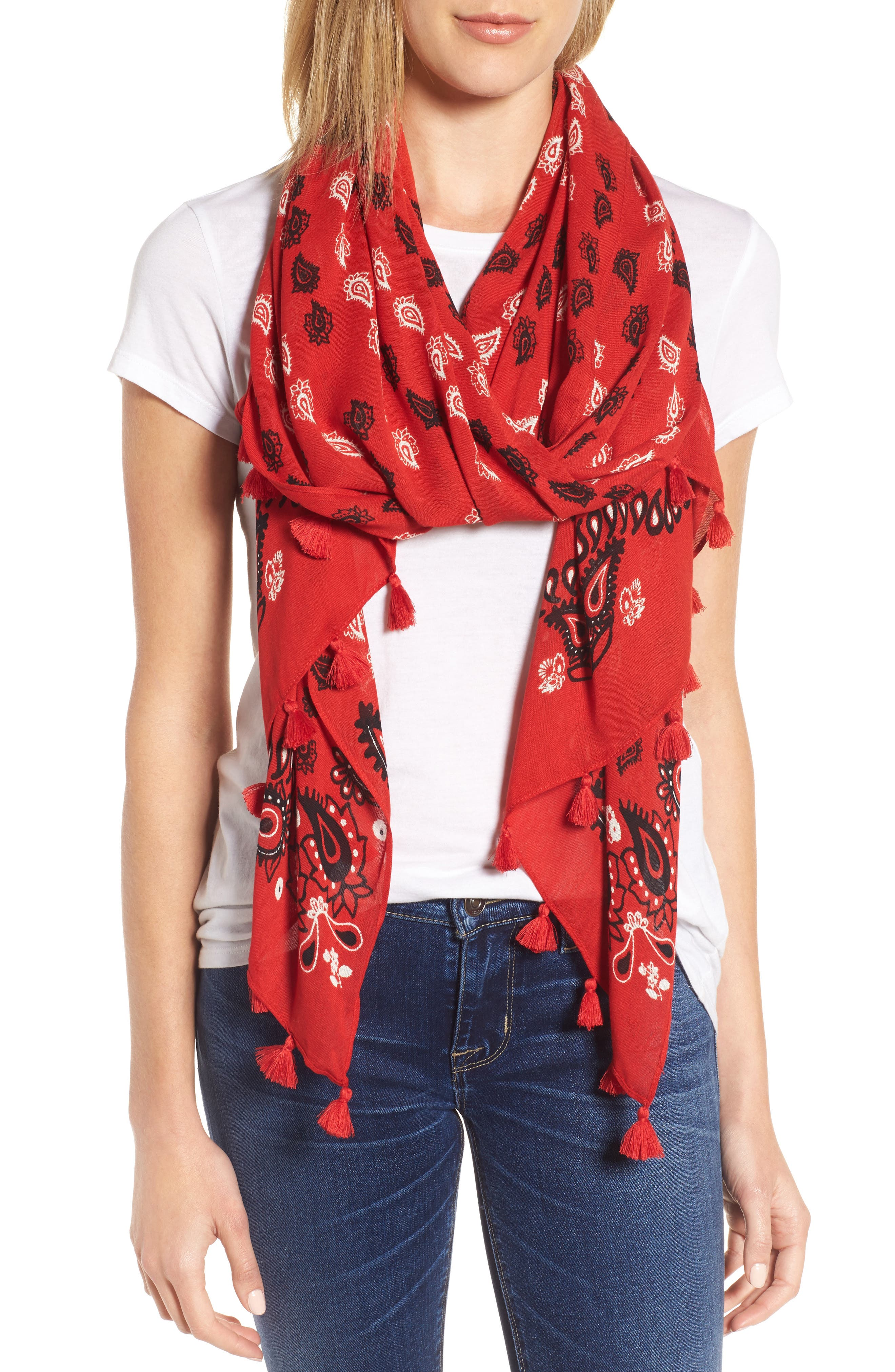 Vertical Paisley Oblong Scarf,                         Main,                         color, Poppy Red