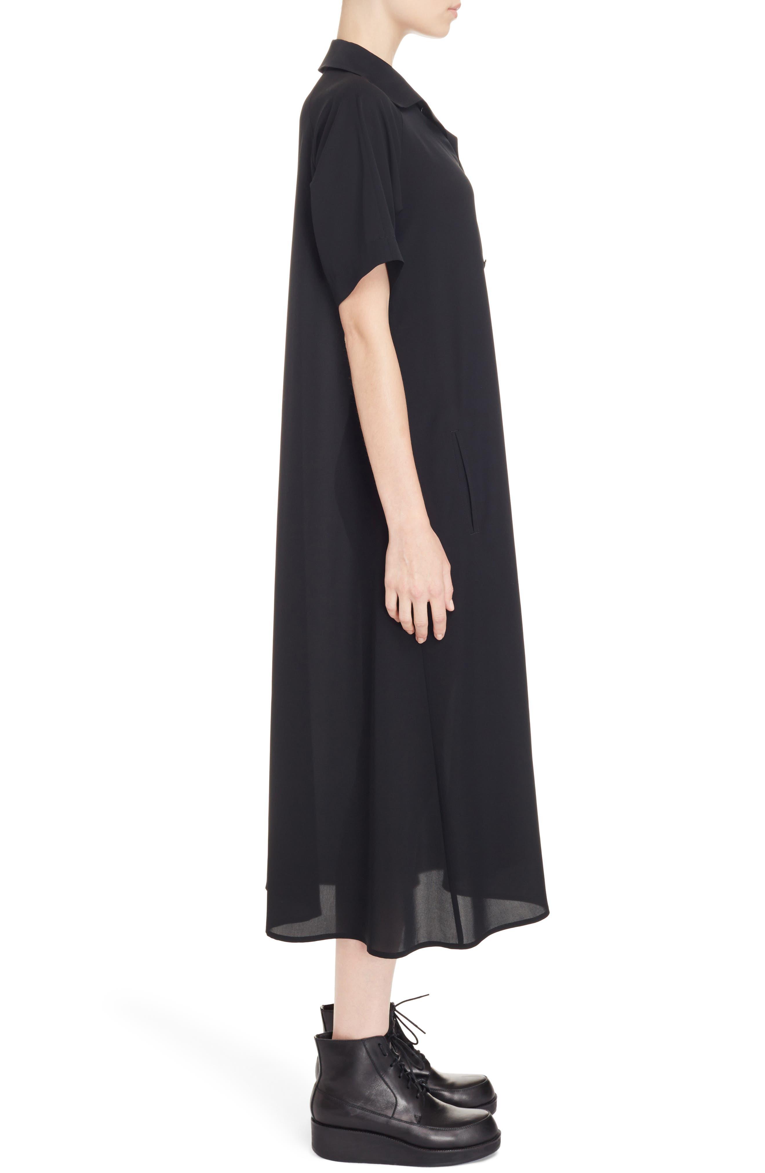 Oversize Shirtdress,                             Alternate thumbnail 3, color,                             Black
