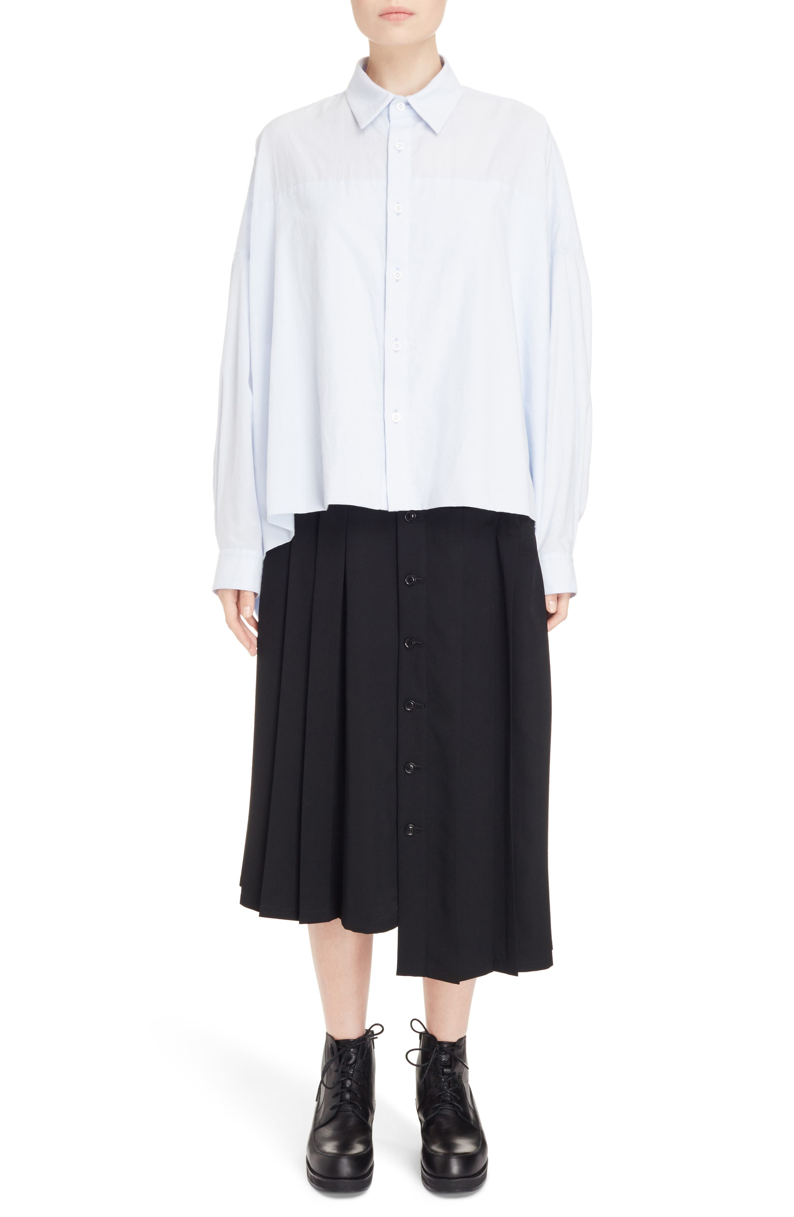 Pleated Button Front Wool Skirt,                             Alternate thumbnail 6, color,                             Black