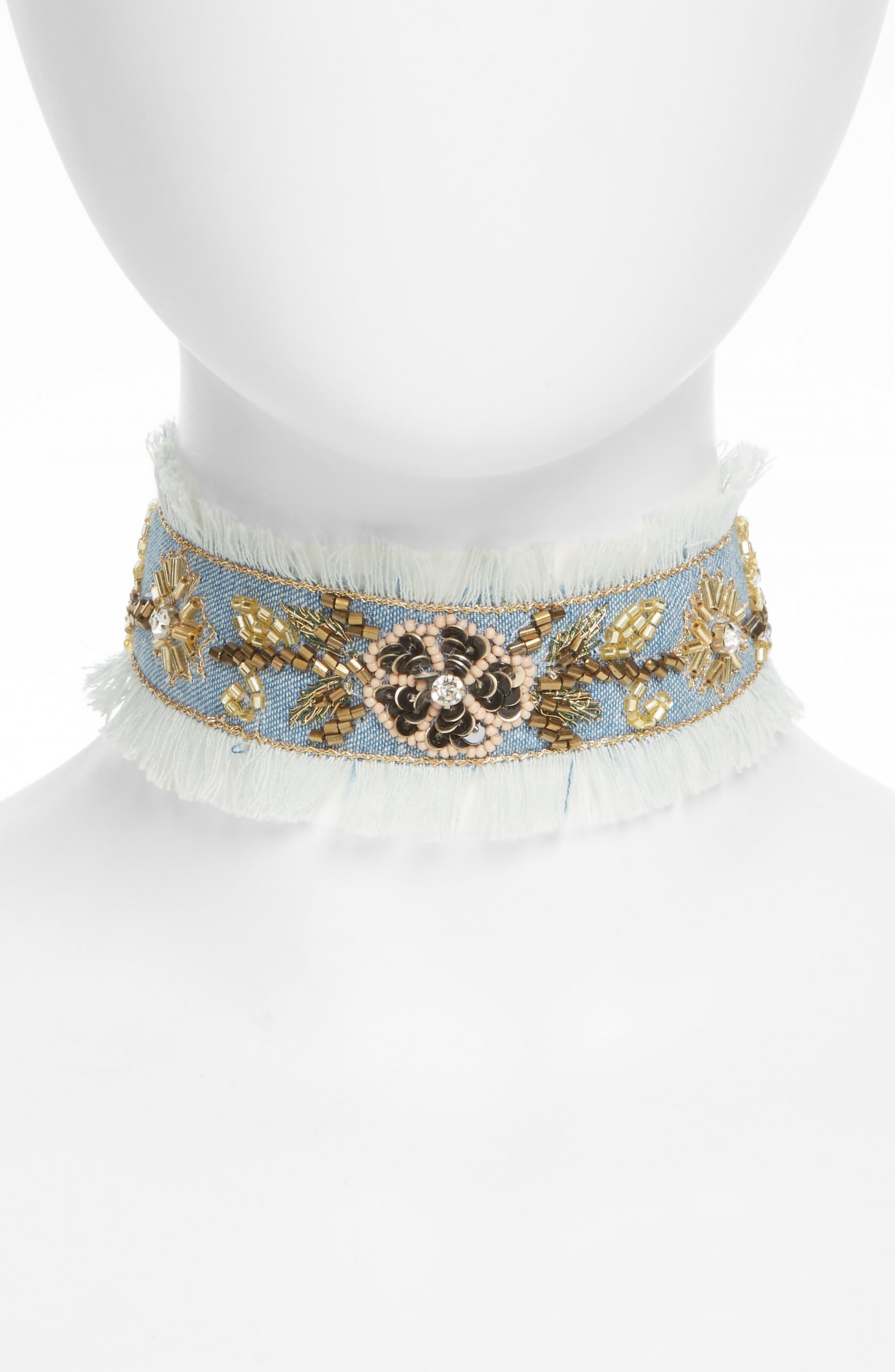 Embellished Denim Choker,                         Main,                         color, Blue