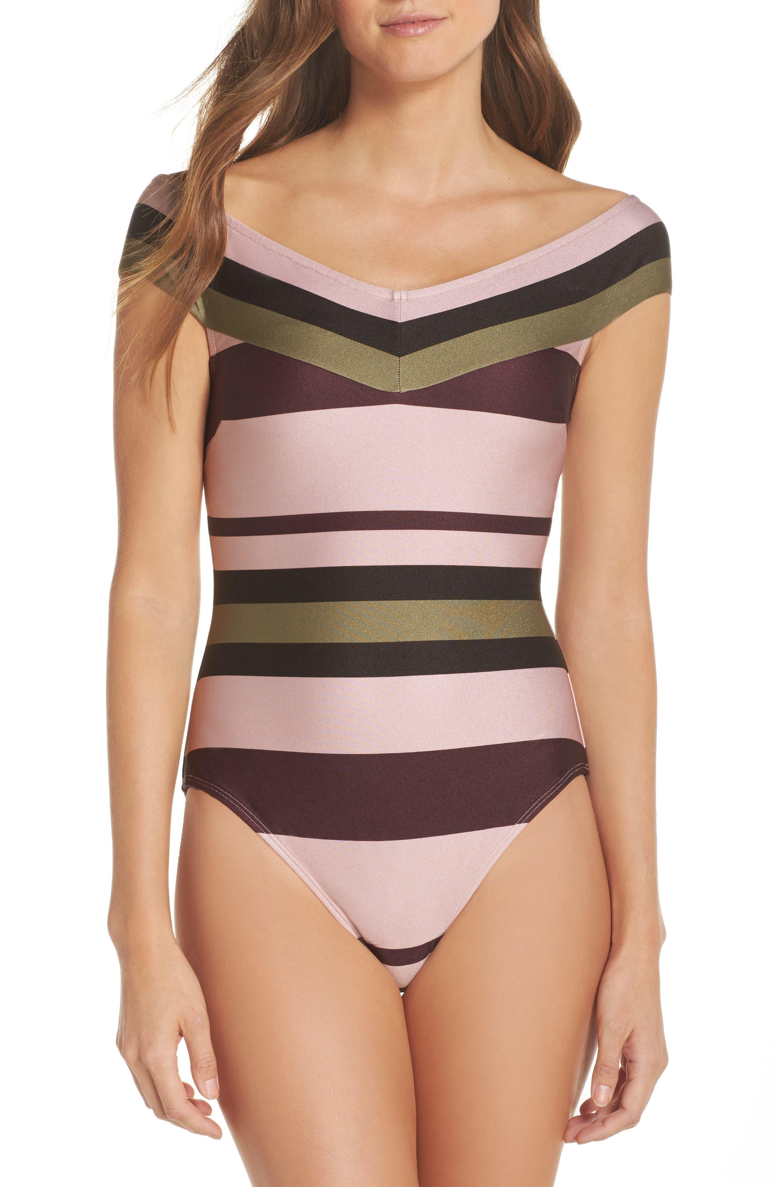 Imperial Stripe Bardot One-Piece Swimsuit,                             Main thumbnail 1, color,                             Dusky Pink