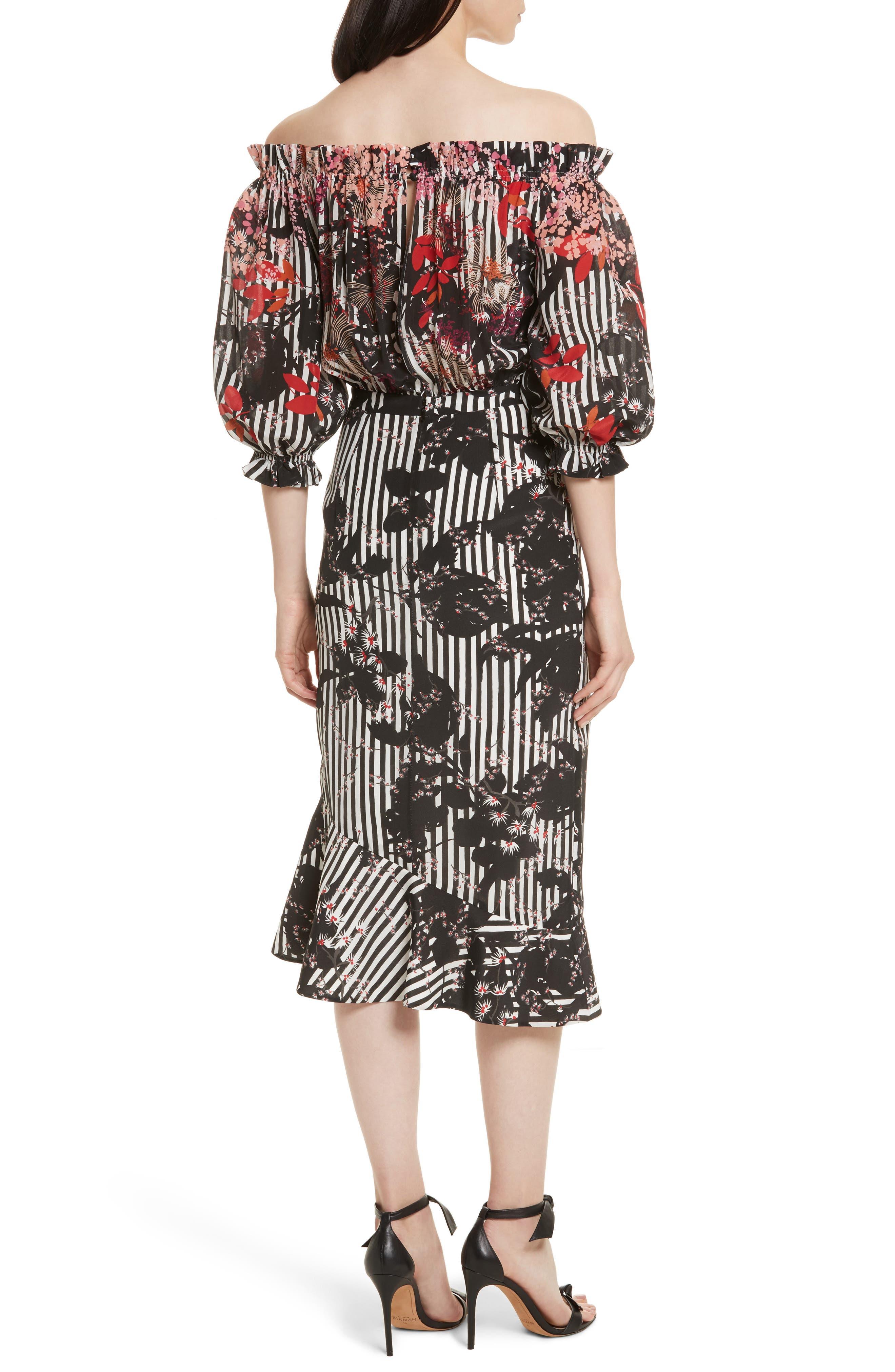 Alternate Image 2  - SALONI Grace Print Silk Off the Shoulder Dress