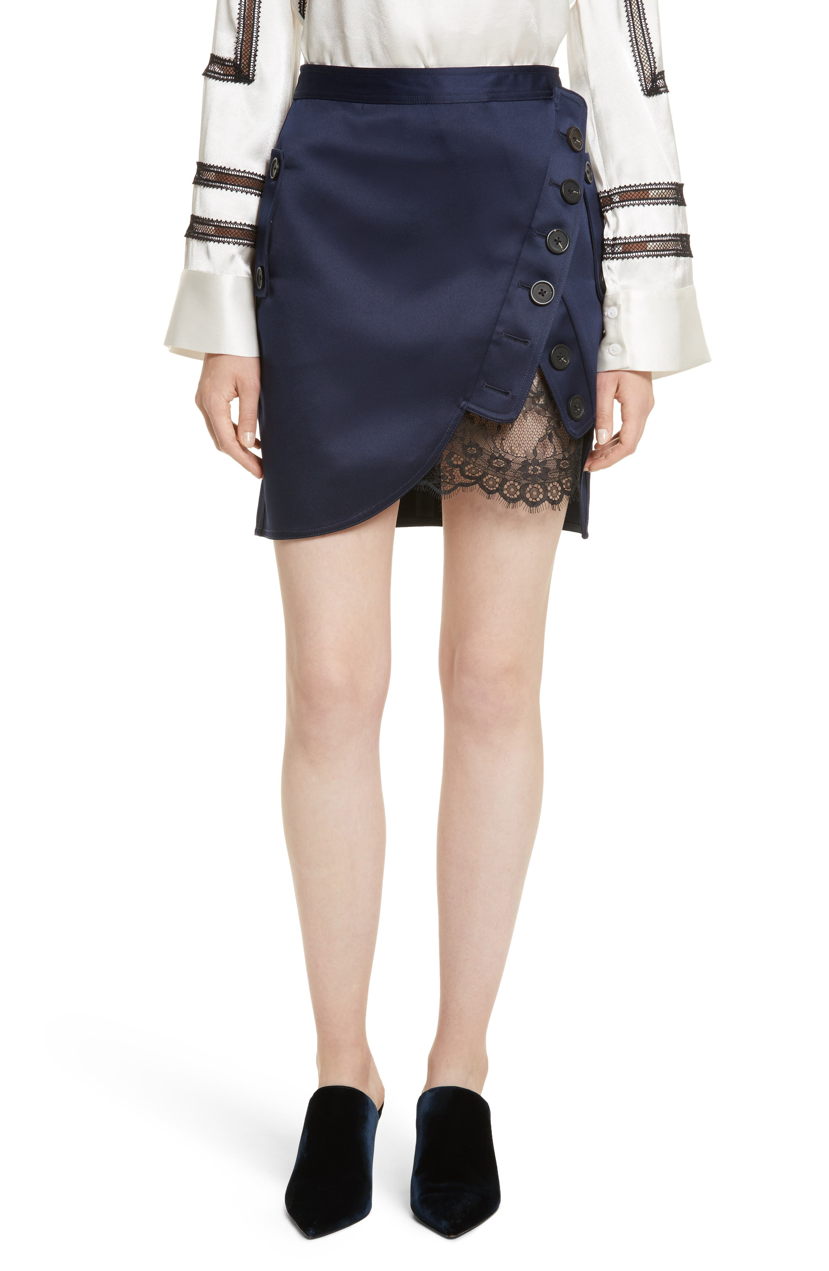 Main Image - Self-Portrait Satin Utility Miniskirt