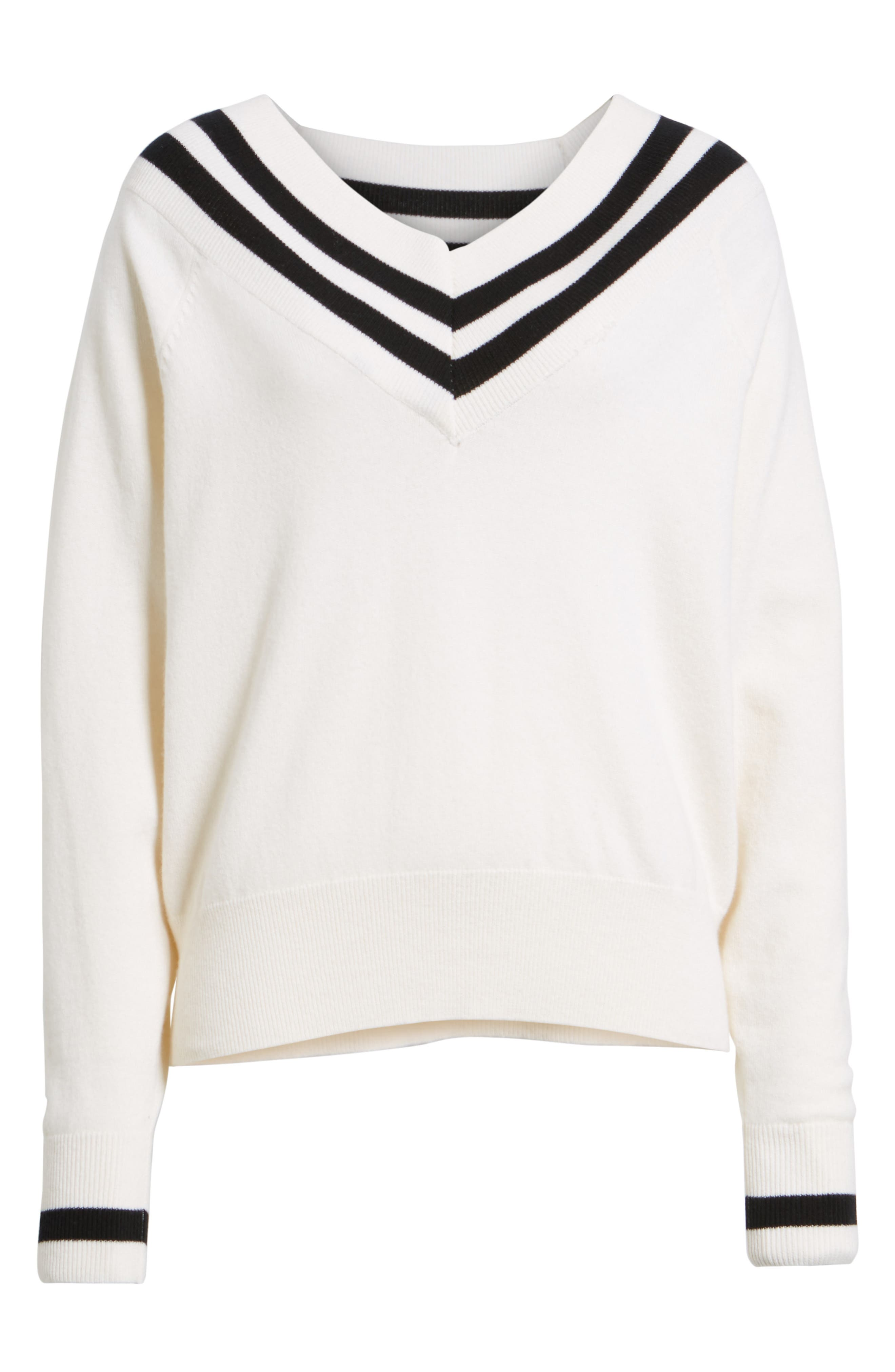 Stripe Sweater,                             Alternate thumbnail 6, color,                             White Multi