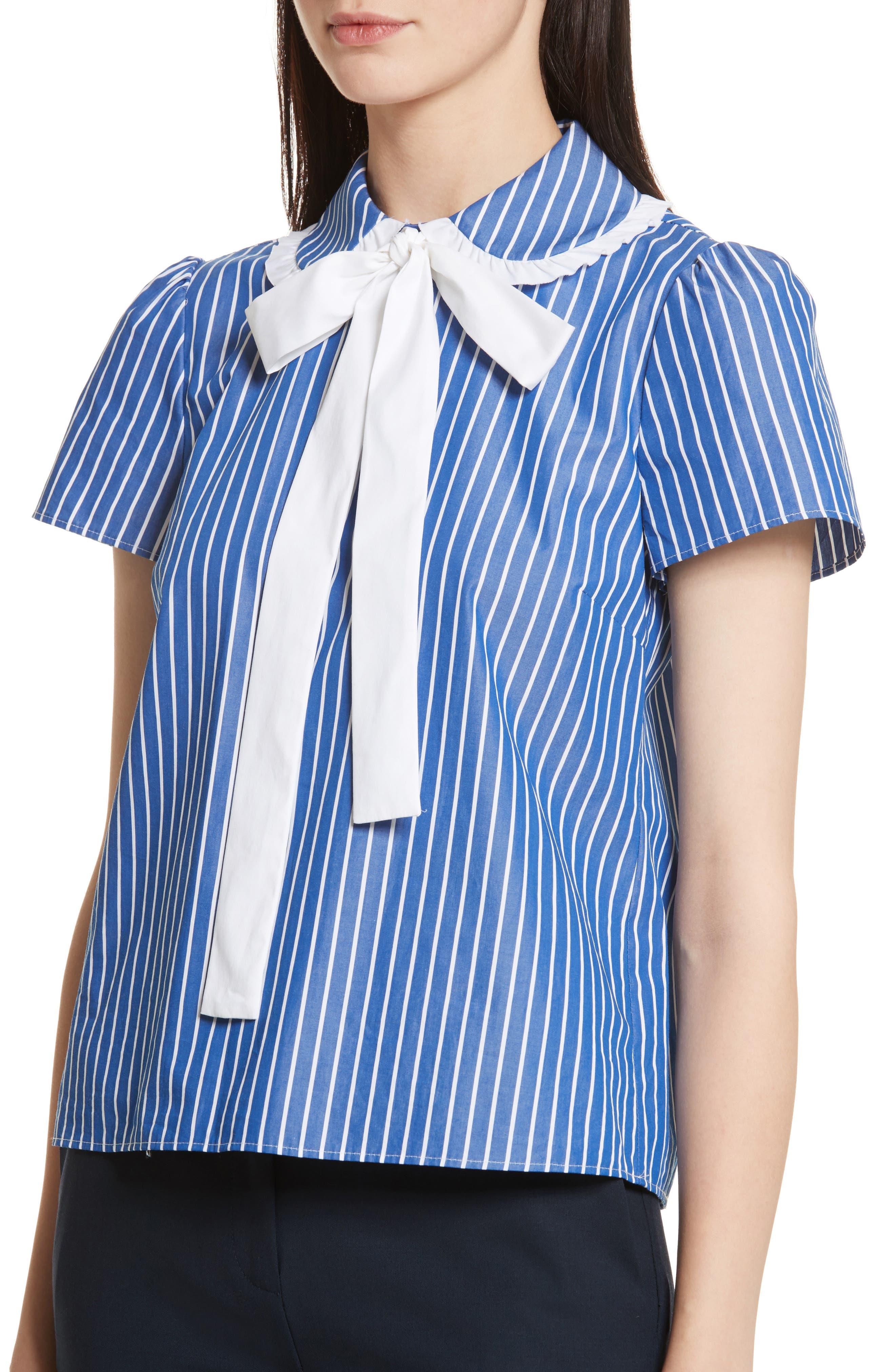 Tie Neck Stripe Cotton Poplin Top,                             Alternate thumbnail 4, color,                             Navy