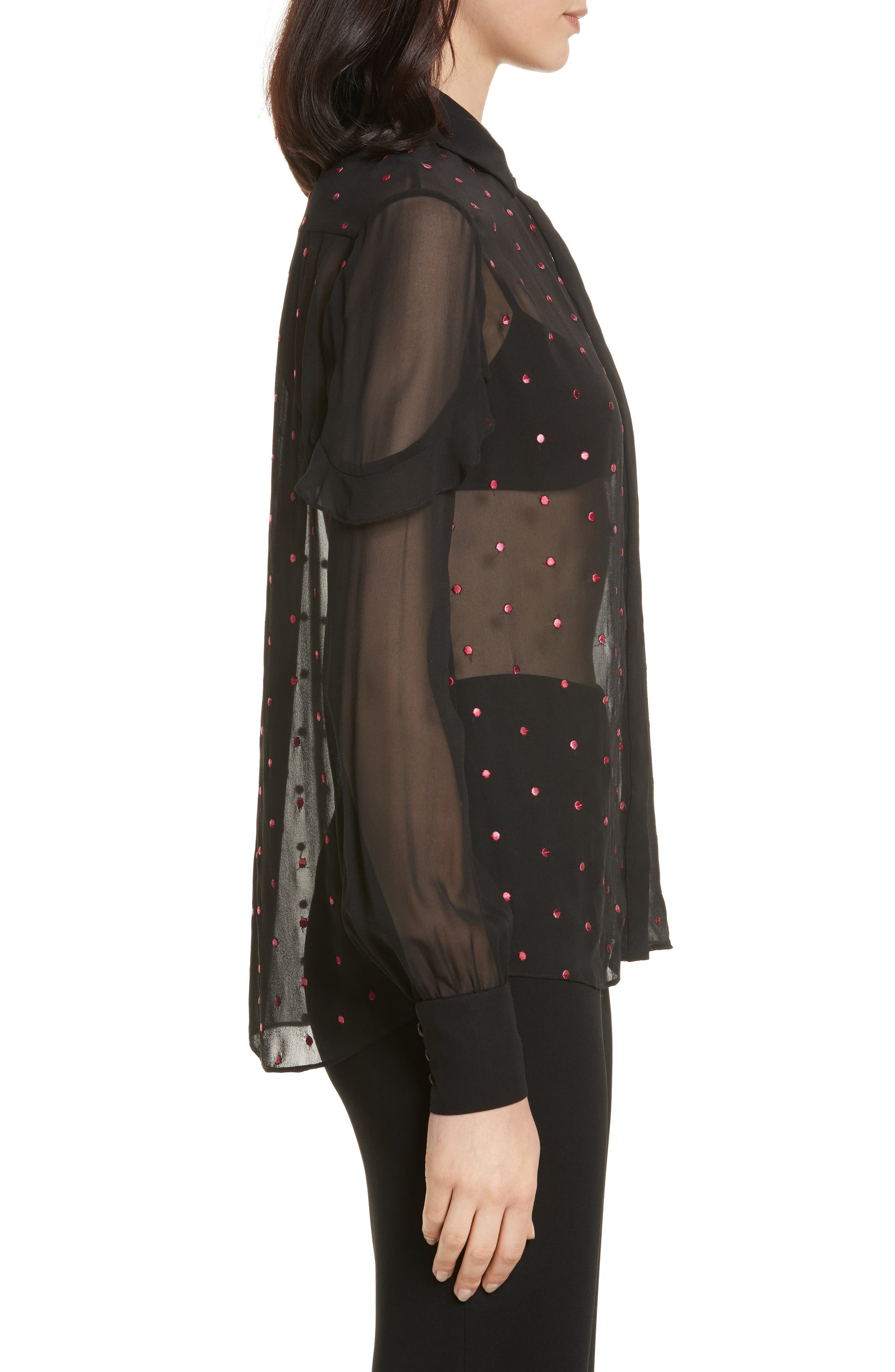 Myra Embroidered Silk Shirt,                             Alternate thumbnail 3, color,                             Black Rose Ombre Dots