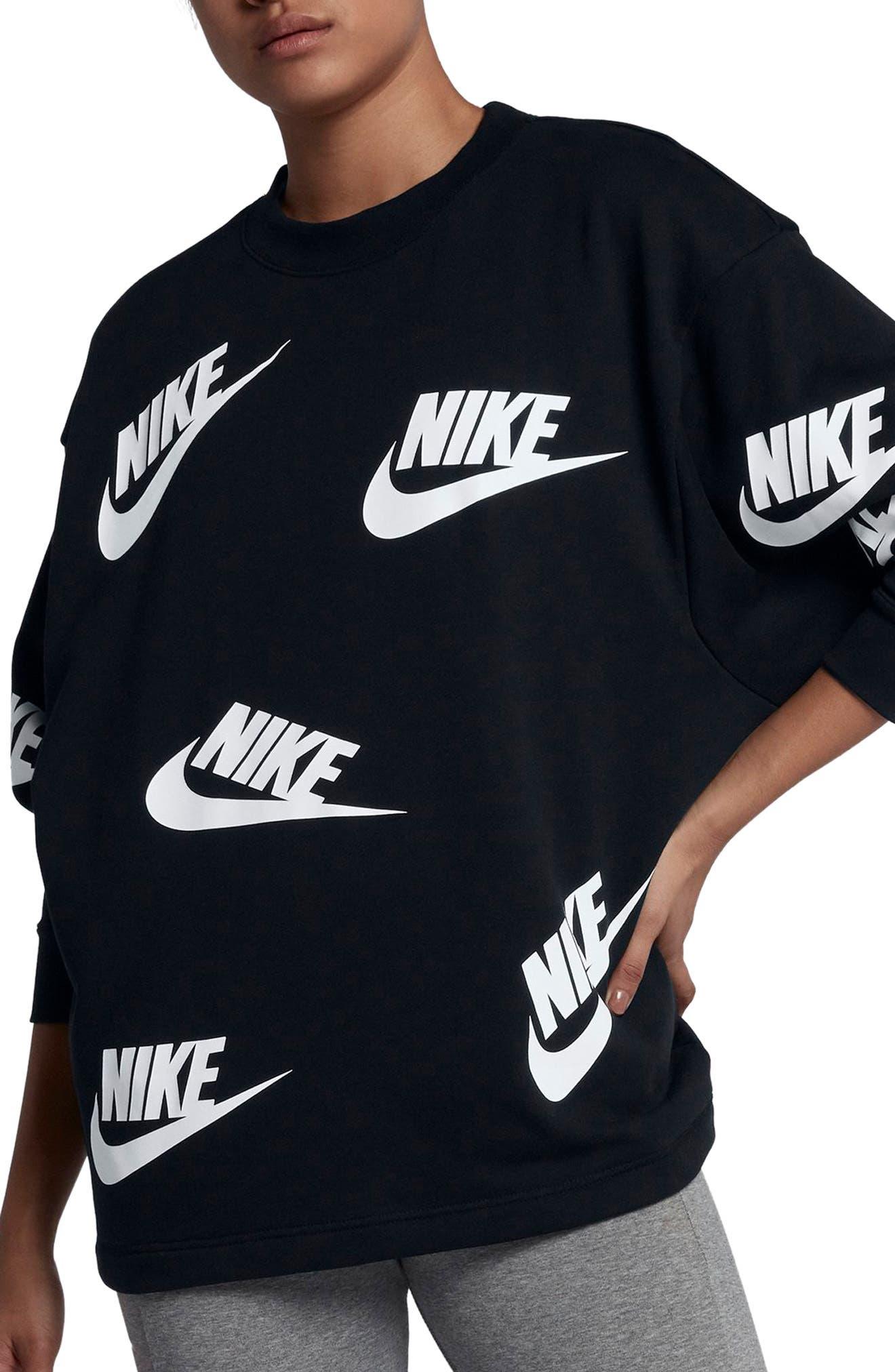 Sportswear Futura Sweatshirt,                             Main thumbnail 1, color,                             Black/ White