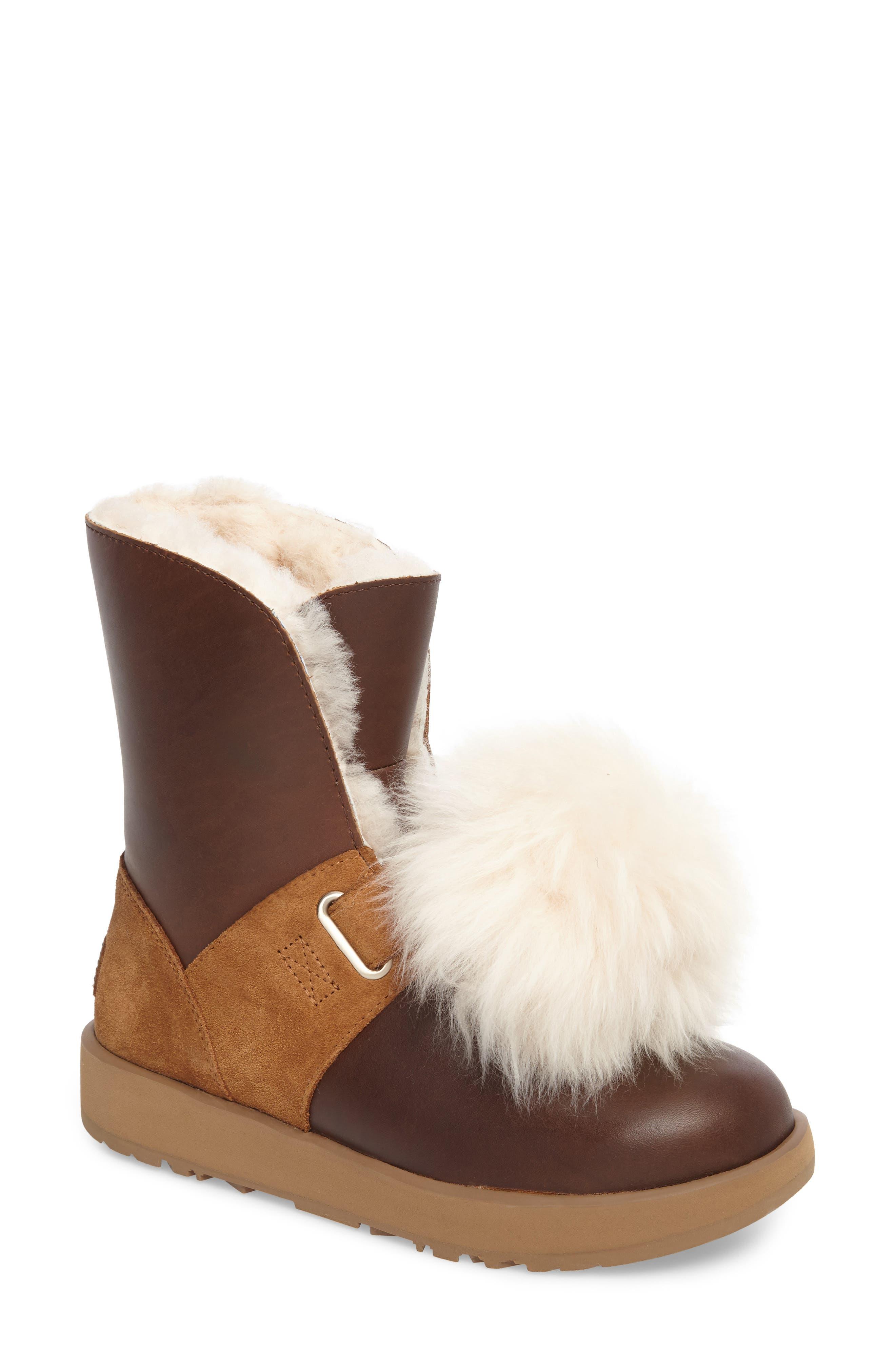 Alternate Image 1 Selected - UGG® Isley Genuine Shearling Pompom Waterproof Boot (Women)