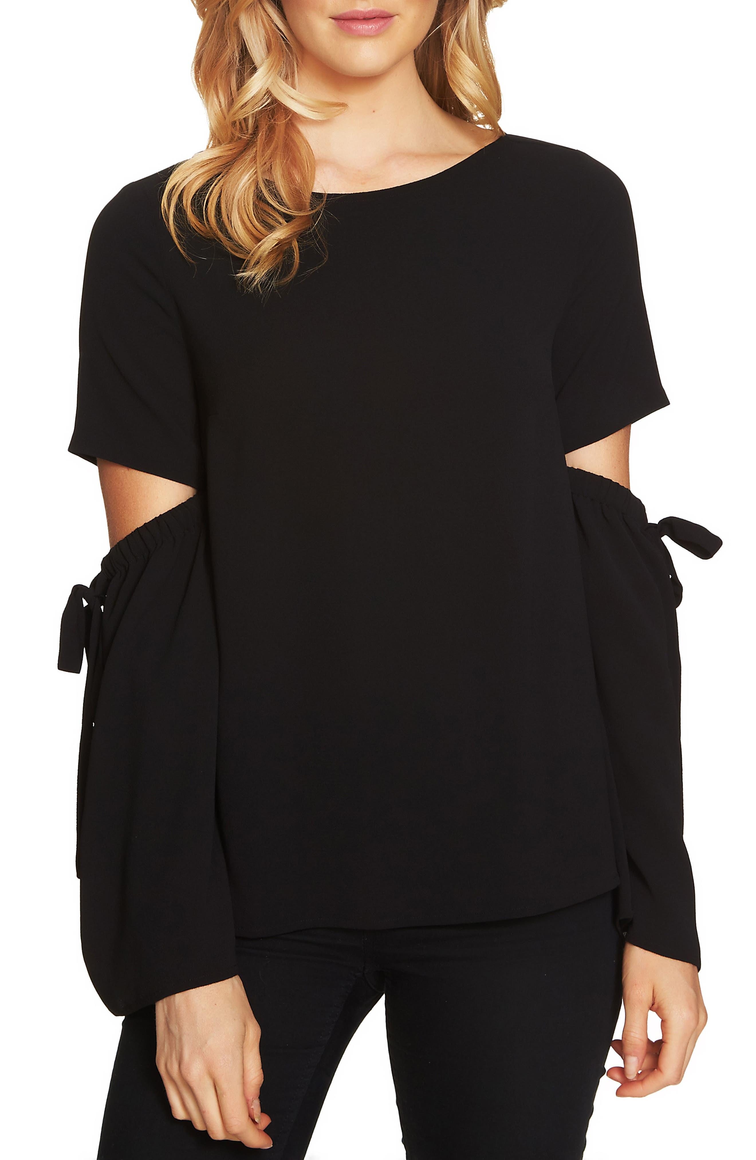 Split Cutout Sleeve Bow Top,                         Main,                         color, Rich Black