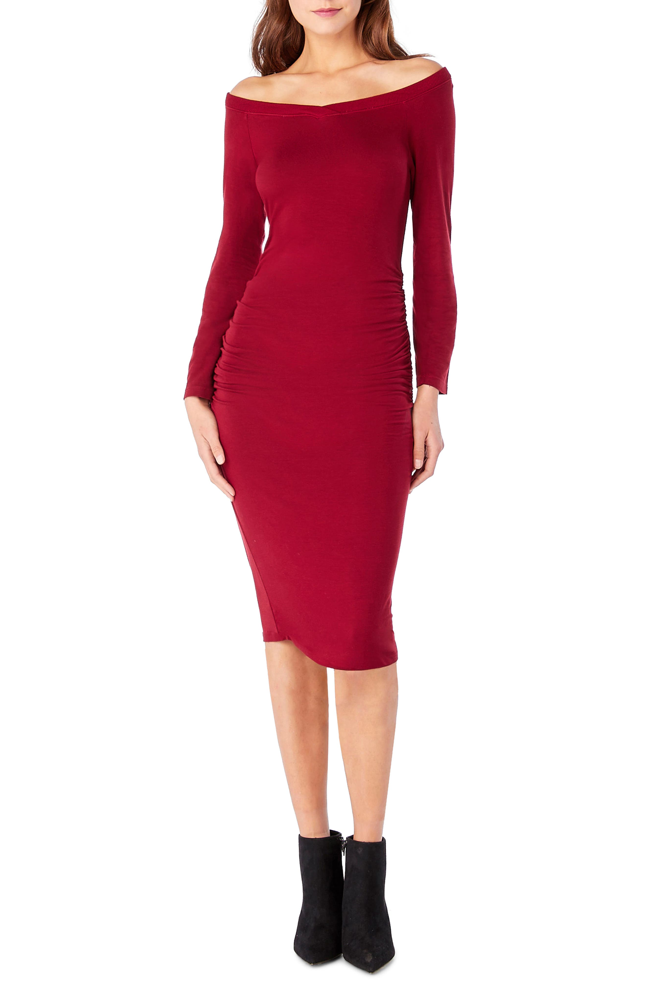 Off the Shoulder Body-Con Dress,                             Main thumbnail 1, color,                             Ruby