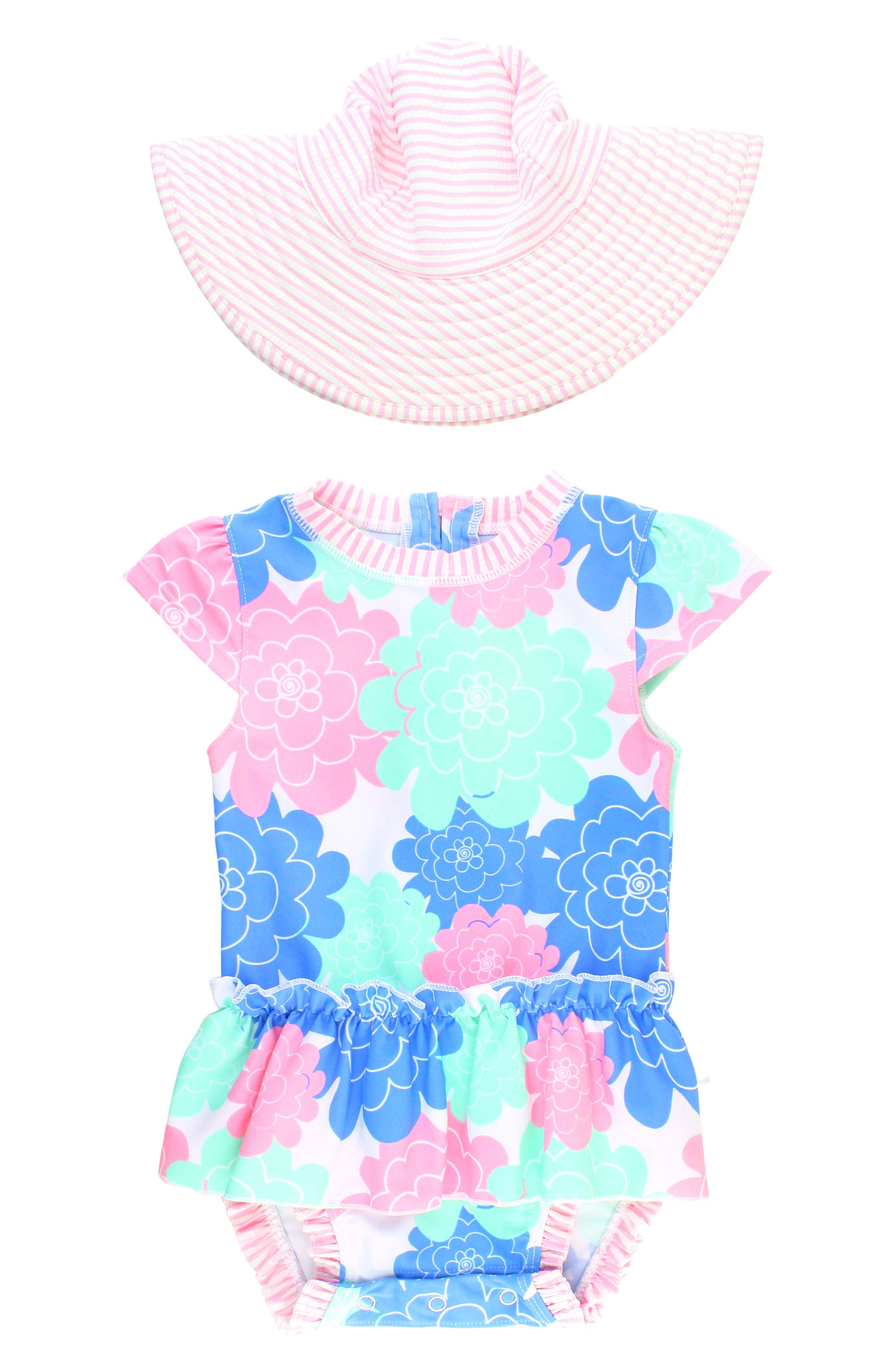 Alternate Image 1 Selected - Ruffle Butts Pastel Petals One-Piece Swimsuit & Hat Set (Baby Girls)