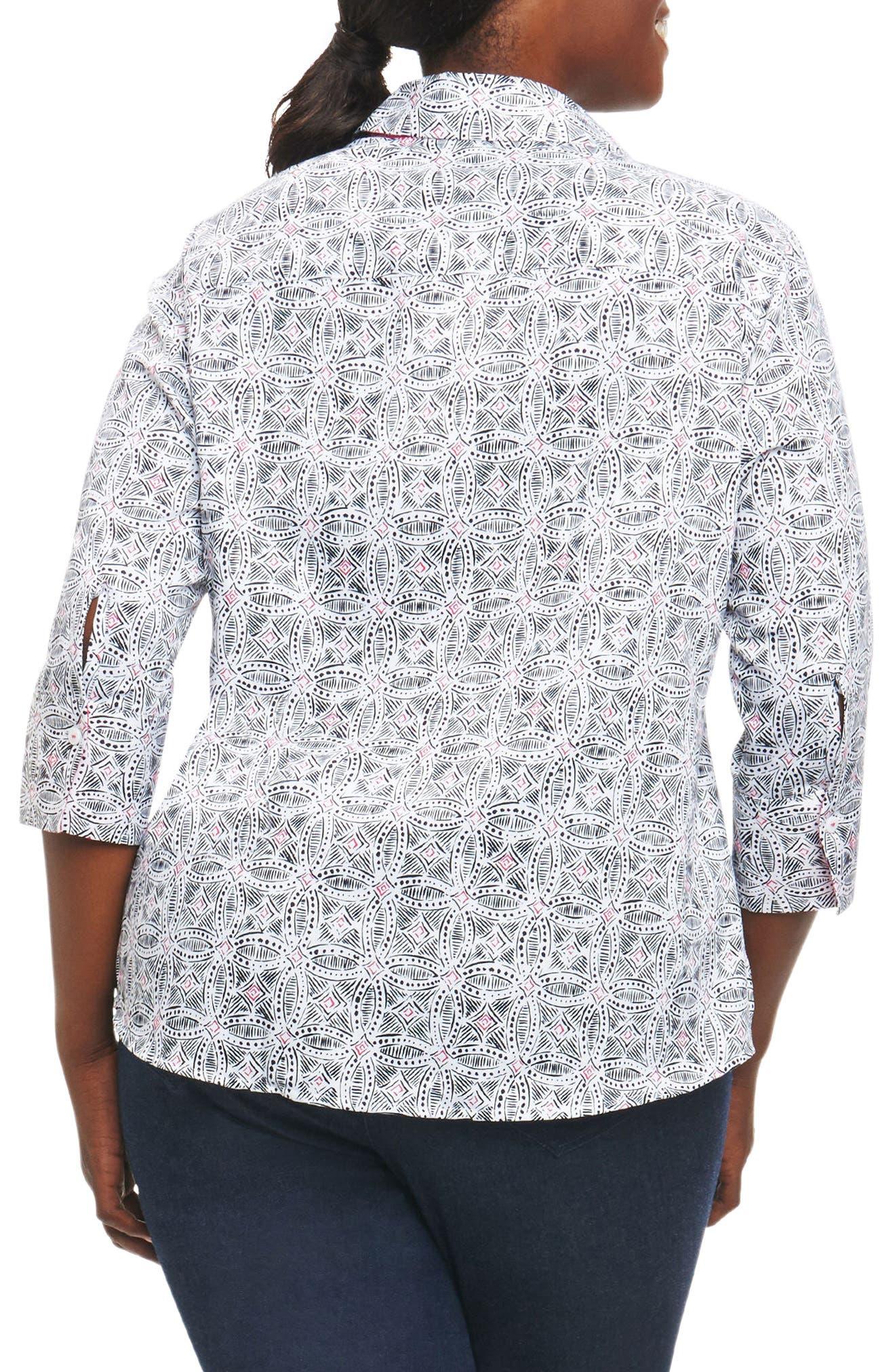 Alternate Image 2  - Foxcroft Mary Circle Tile Print Shirt (Plus Size)