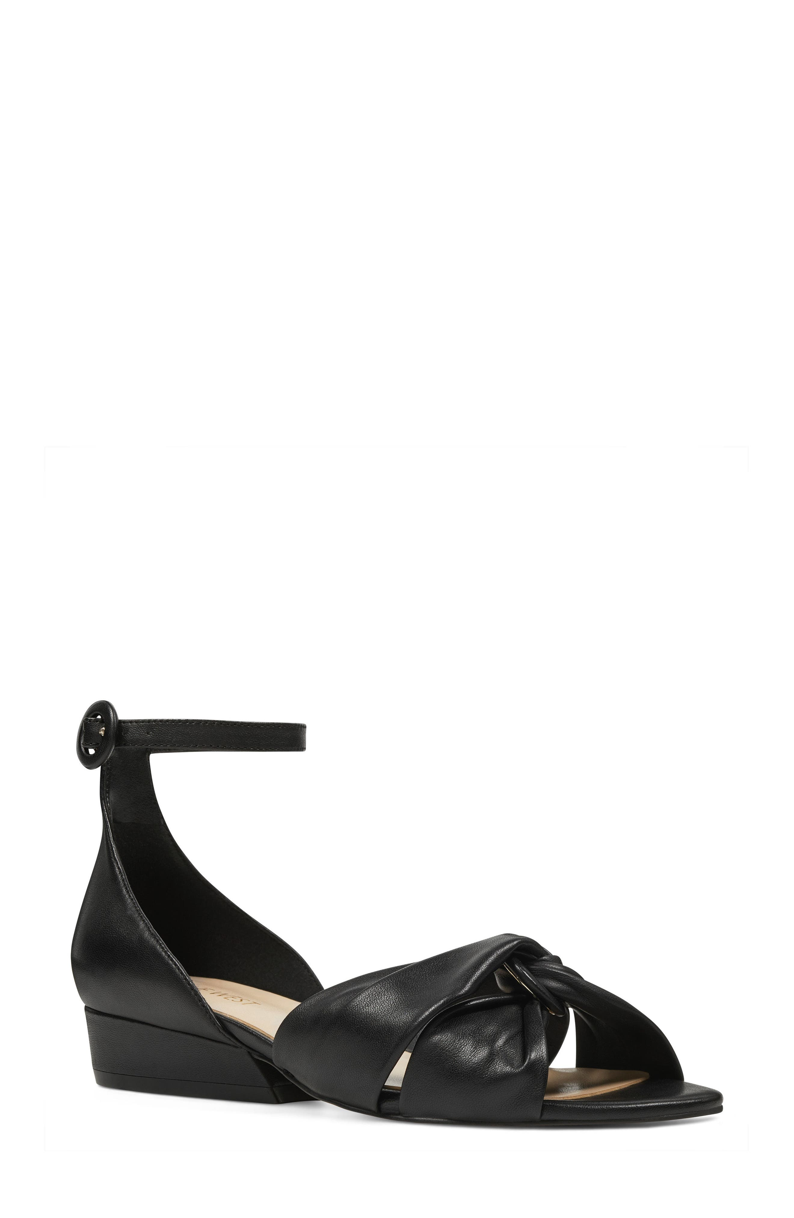 Lumsi Ankle Strap Sandal,                             Main thumbnail 1, color,                             Black Leather
