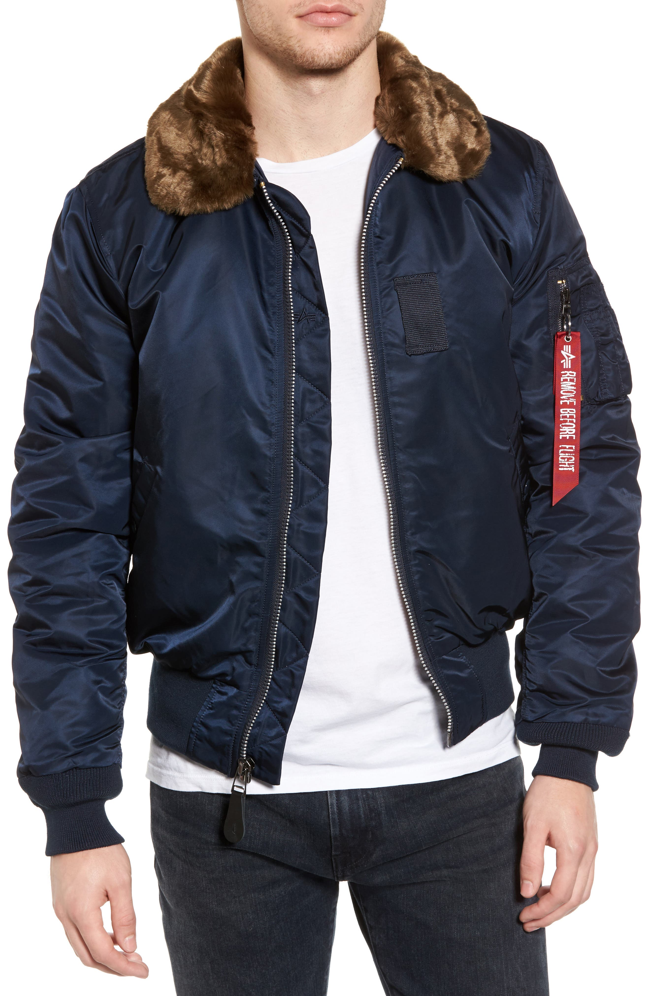 Main Image - Alpha Industries B-15 Removable Faux Fur Collar Flight Jacket