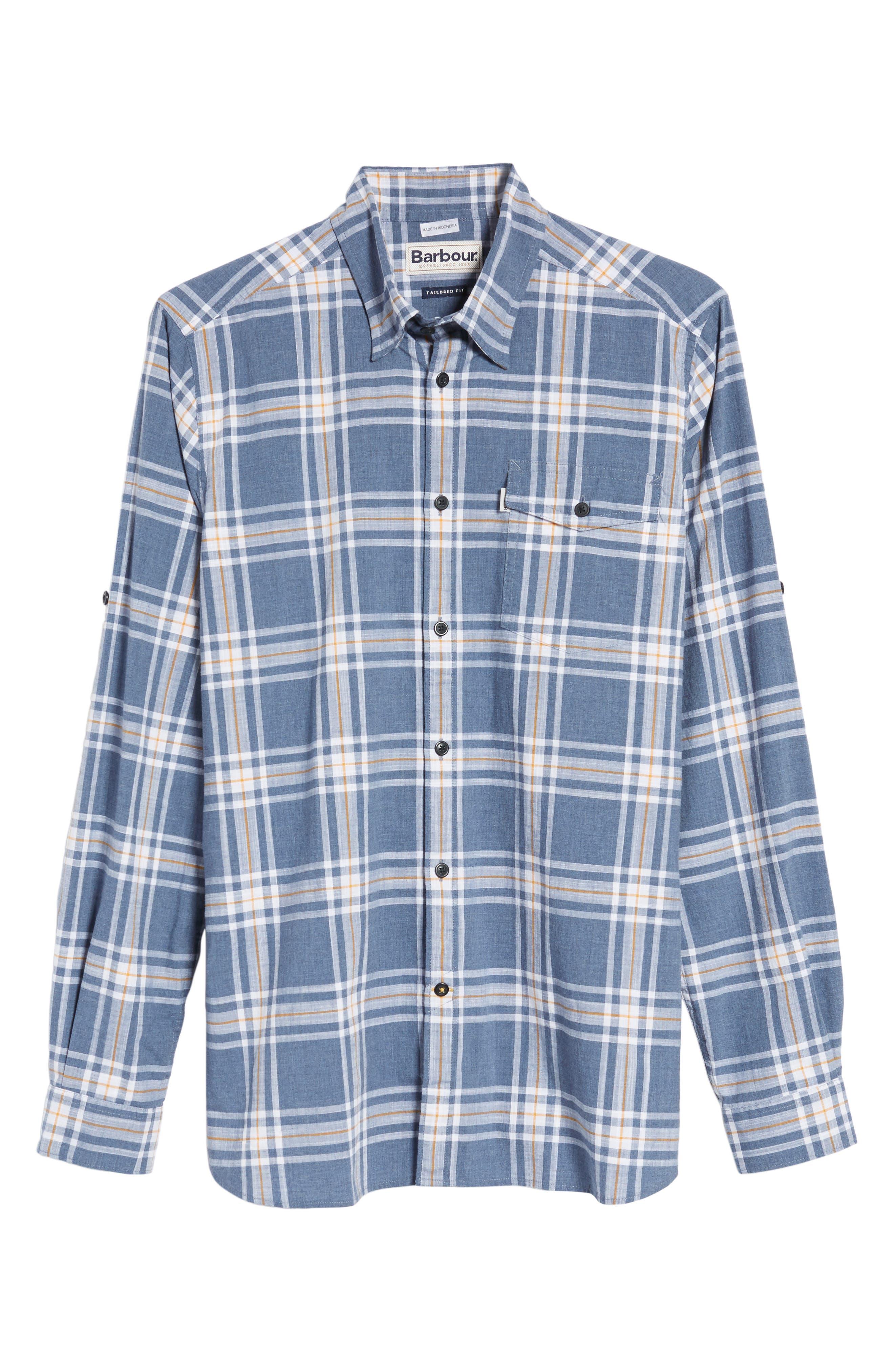 Elver Tailored Fit Plaid Sport Shirt,                             Alternate thumbnail 6, color,                             Navy