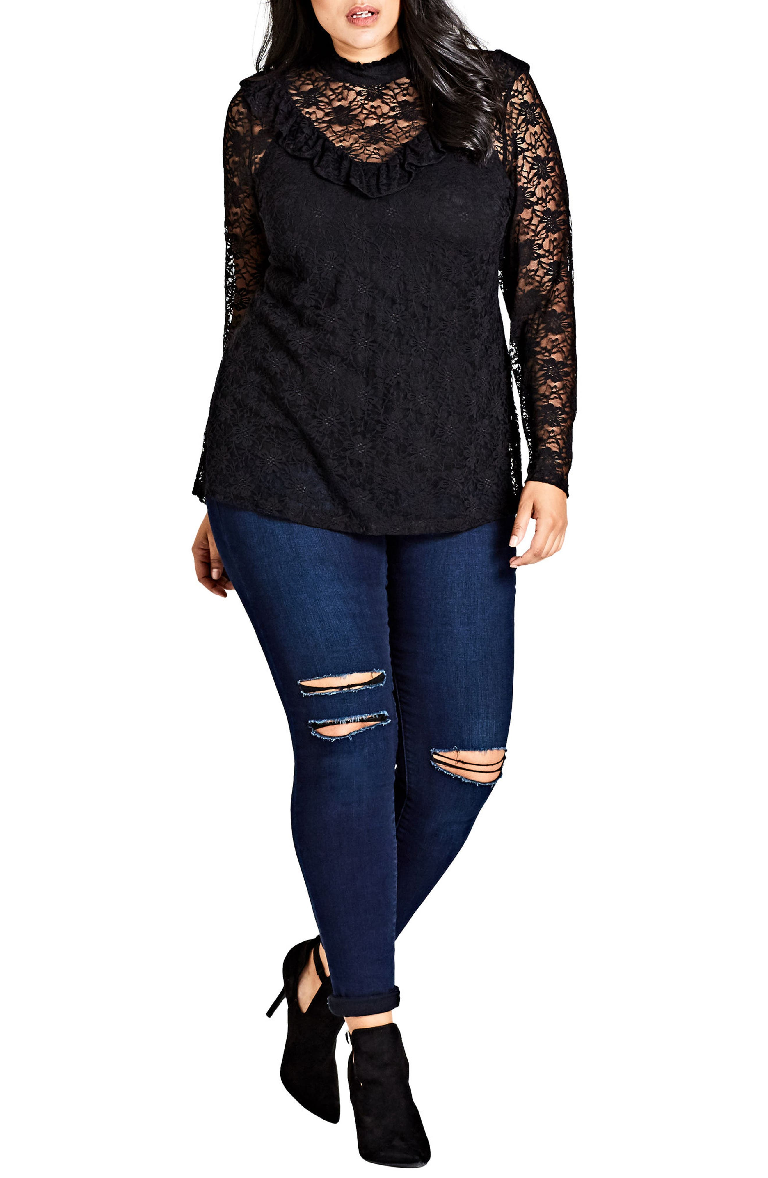 Main Image - City Chic Victorian Lace Top (Plus Size)
