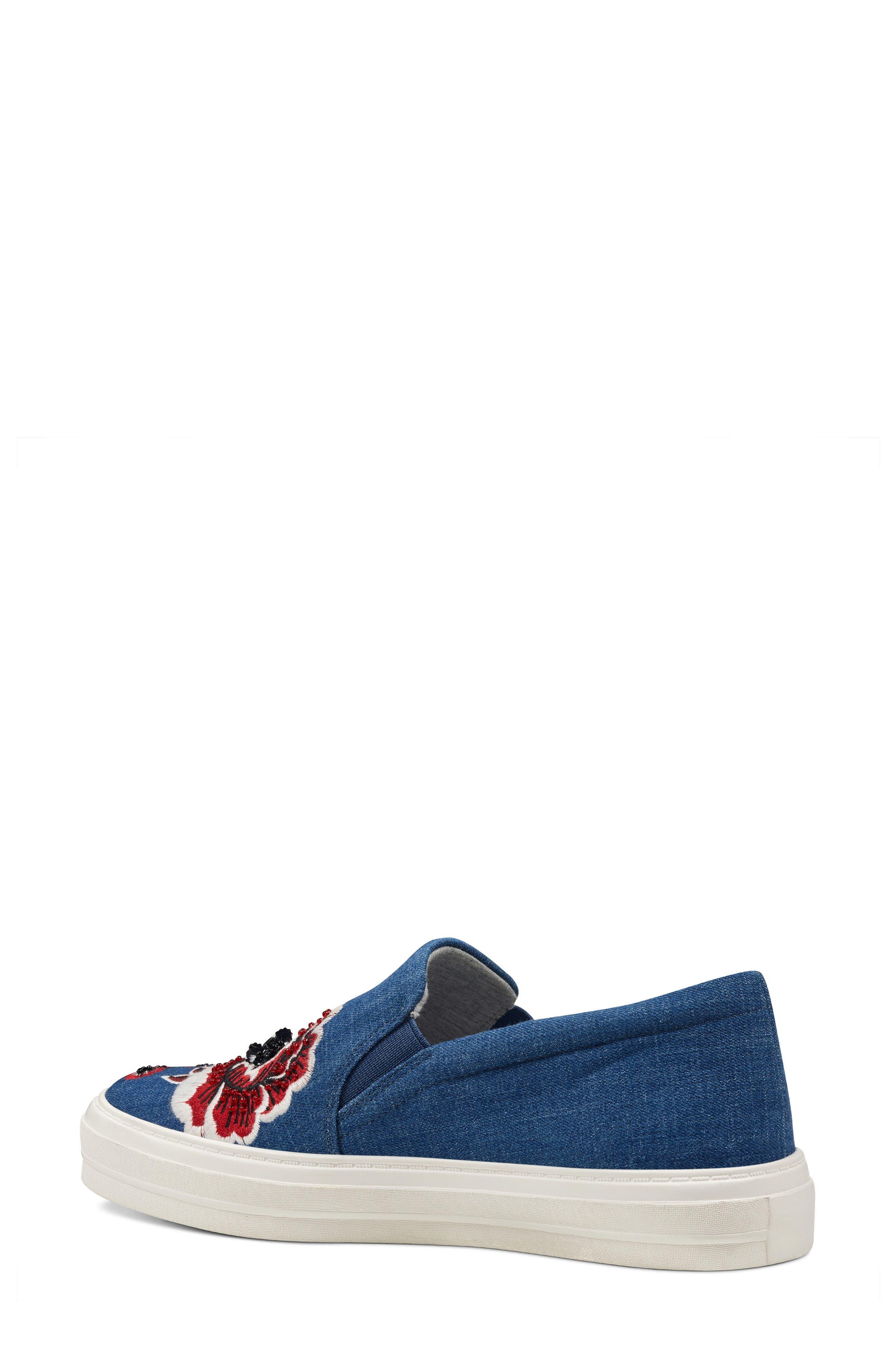 Alternate Image 2  - Nine West Onyeka Embroidered Slip-On Sneaker (Women)