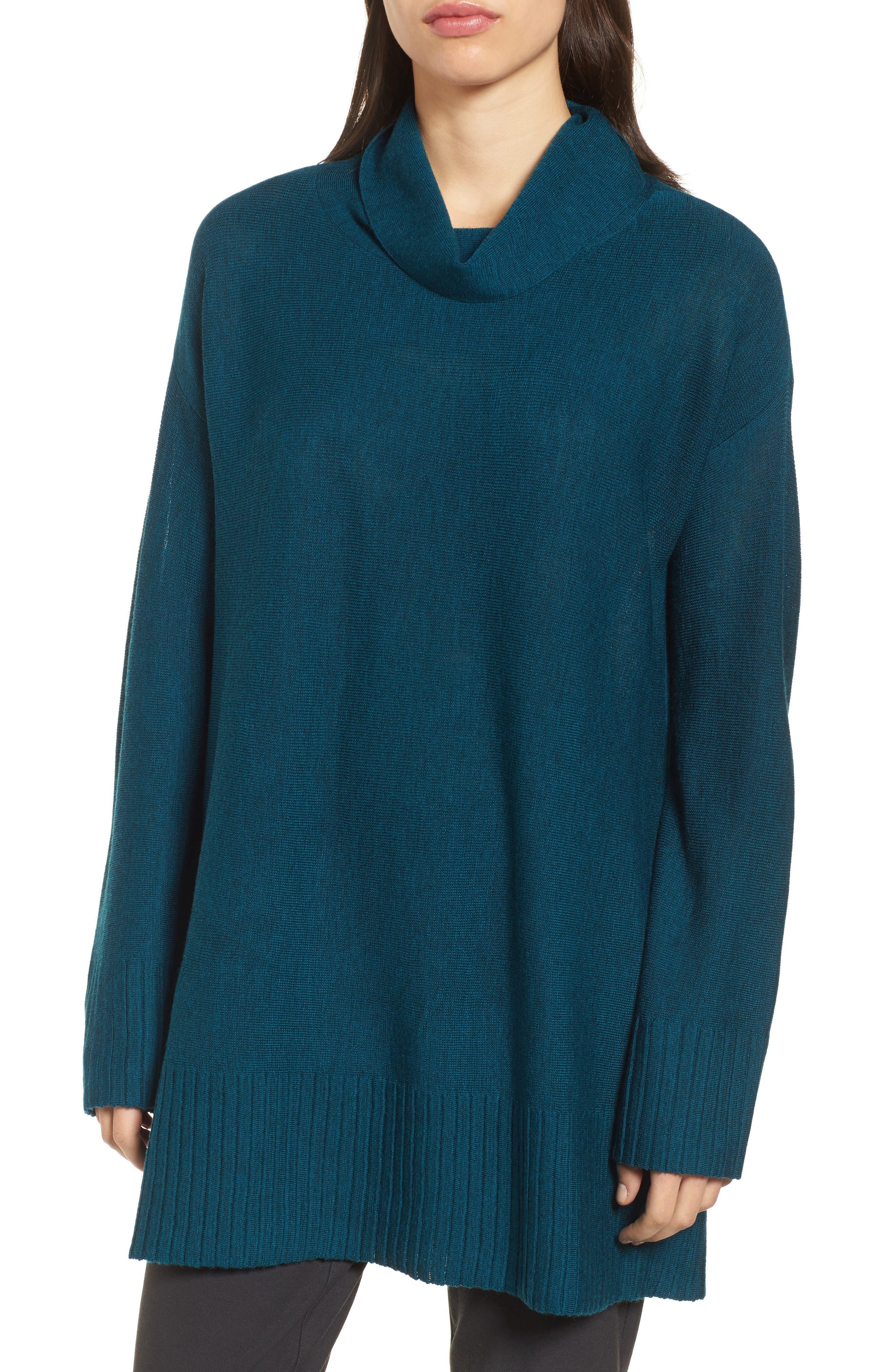Merino Wool Tunic Sweater,                         Main,                         color, Blue Spruce
