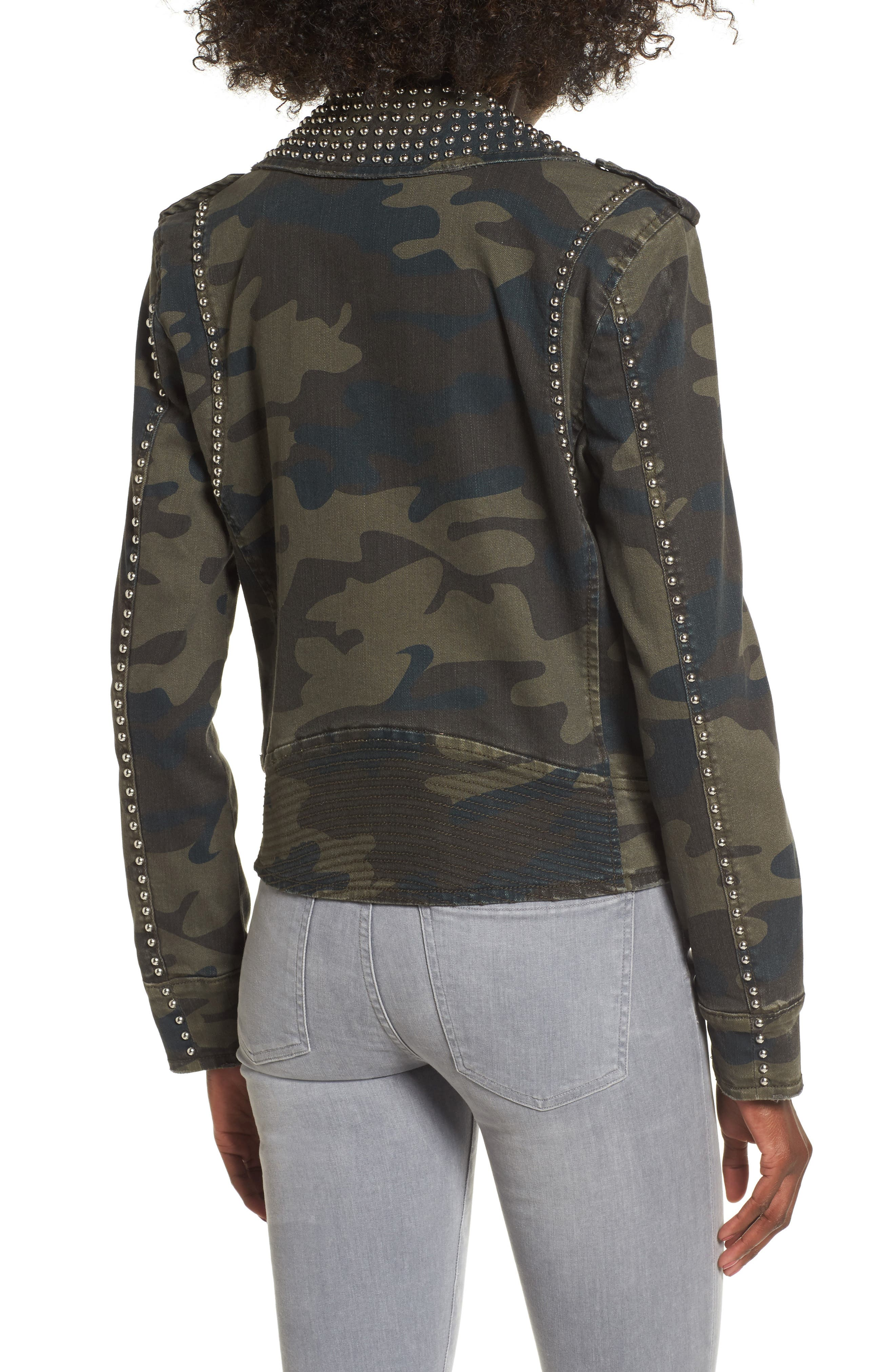 Studded Leopard Print Moto Jacket,                             Alternate thumbnail 2, color,                             Camo