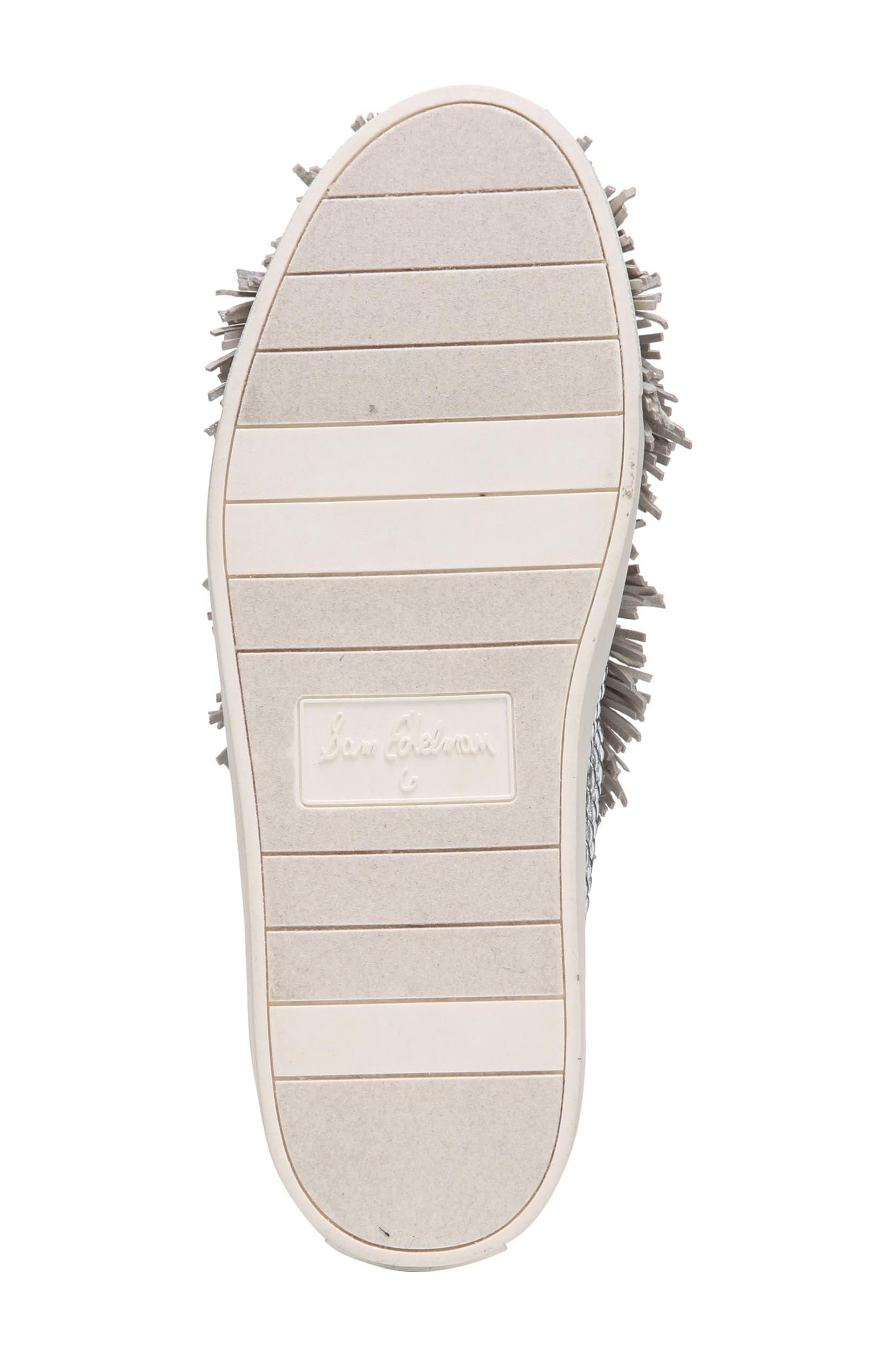 Emory Fringe Pompom Sneaker,                             Alternate thumbnail 8, color,                             Metallic Silver