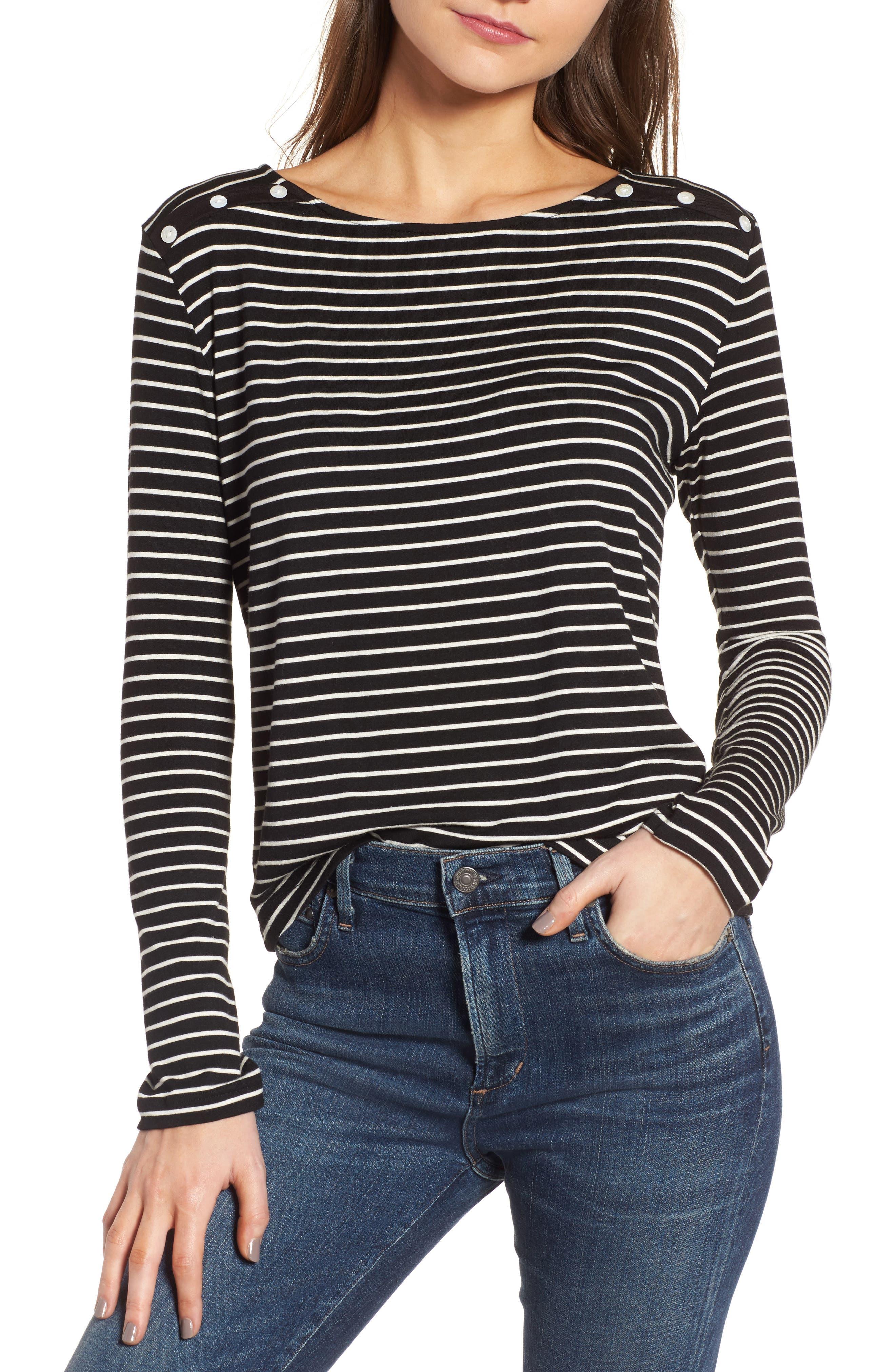 Liana Button Shoulder Tee,                         Main,                         color, Amsterdam Stripe
