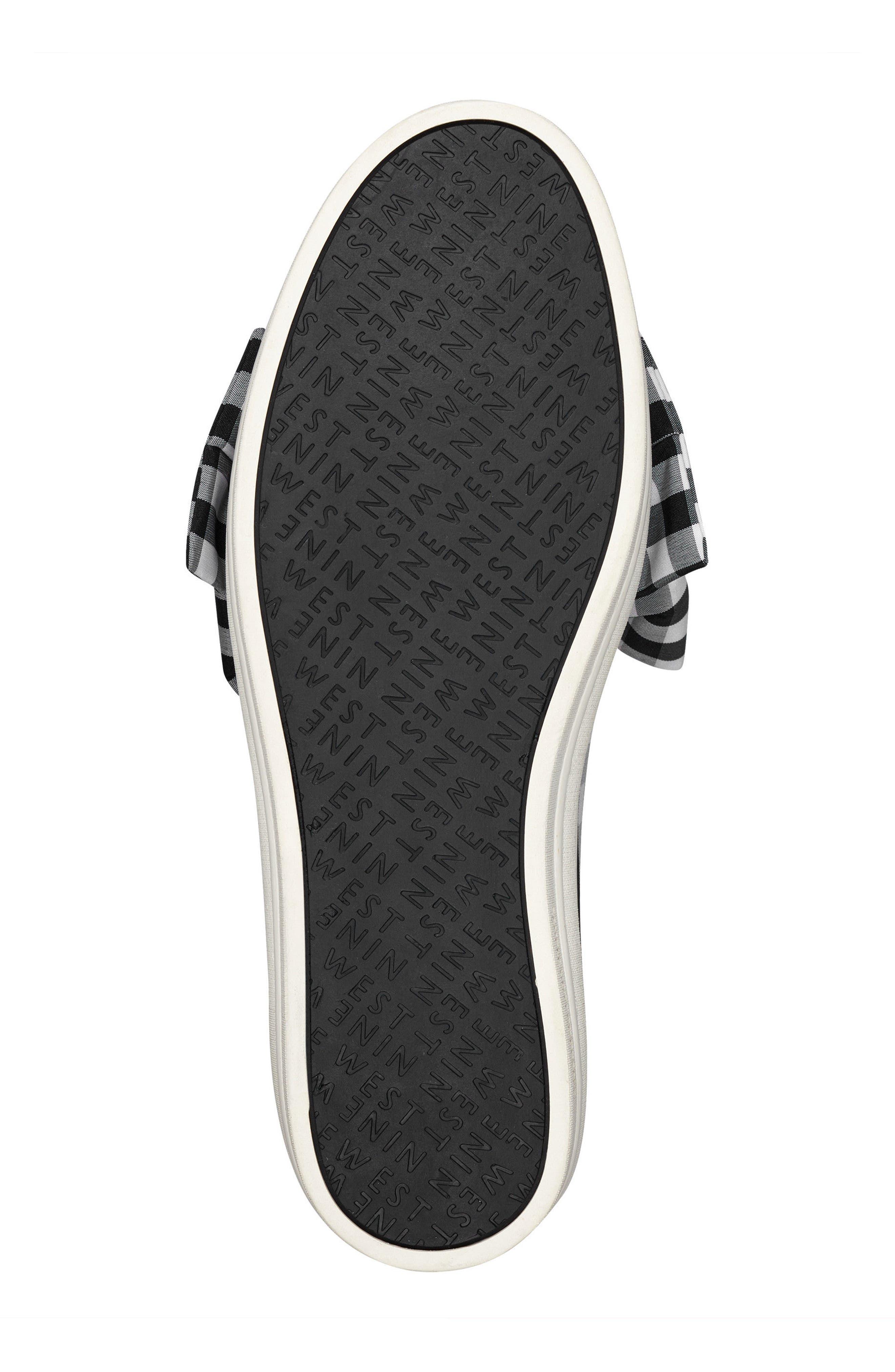 Onosha Bow Slip-On Sneaker,                             Alternate thumbnail 6, color,                             Black/ White Fabric