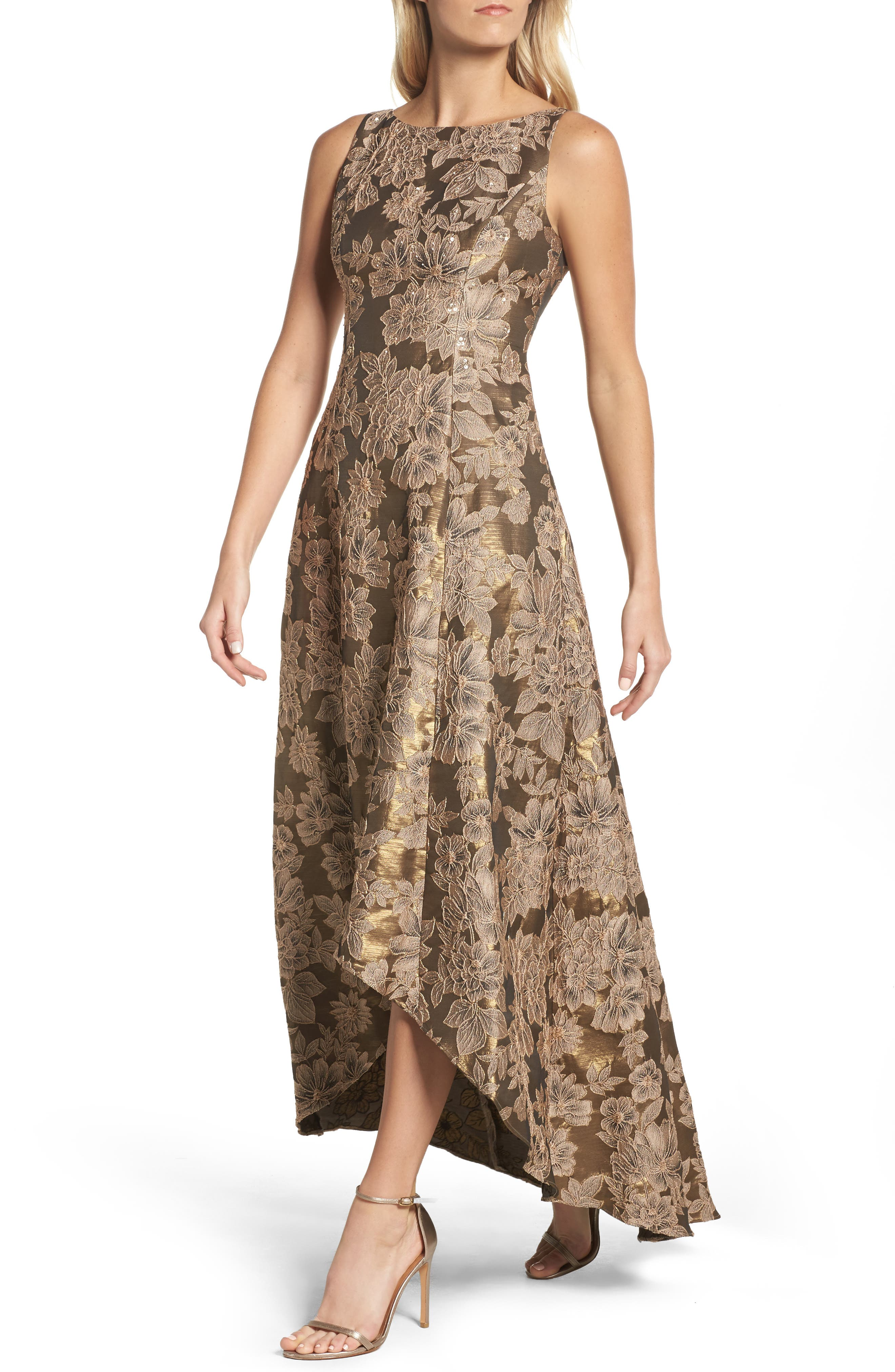 Embellished Taffetta High/Low Gown,                         Main,                         color, Antique Gold