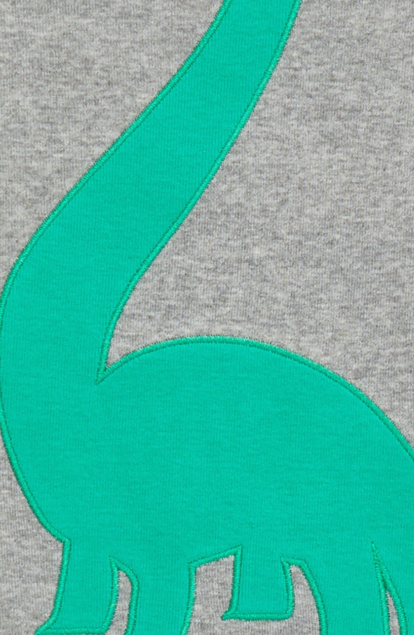 Appliqué Two-Piece Pajamas,                             Alternate thumbnail 3, color,                             Grey Medium Heather Dino