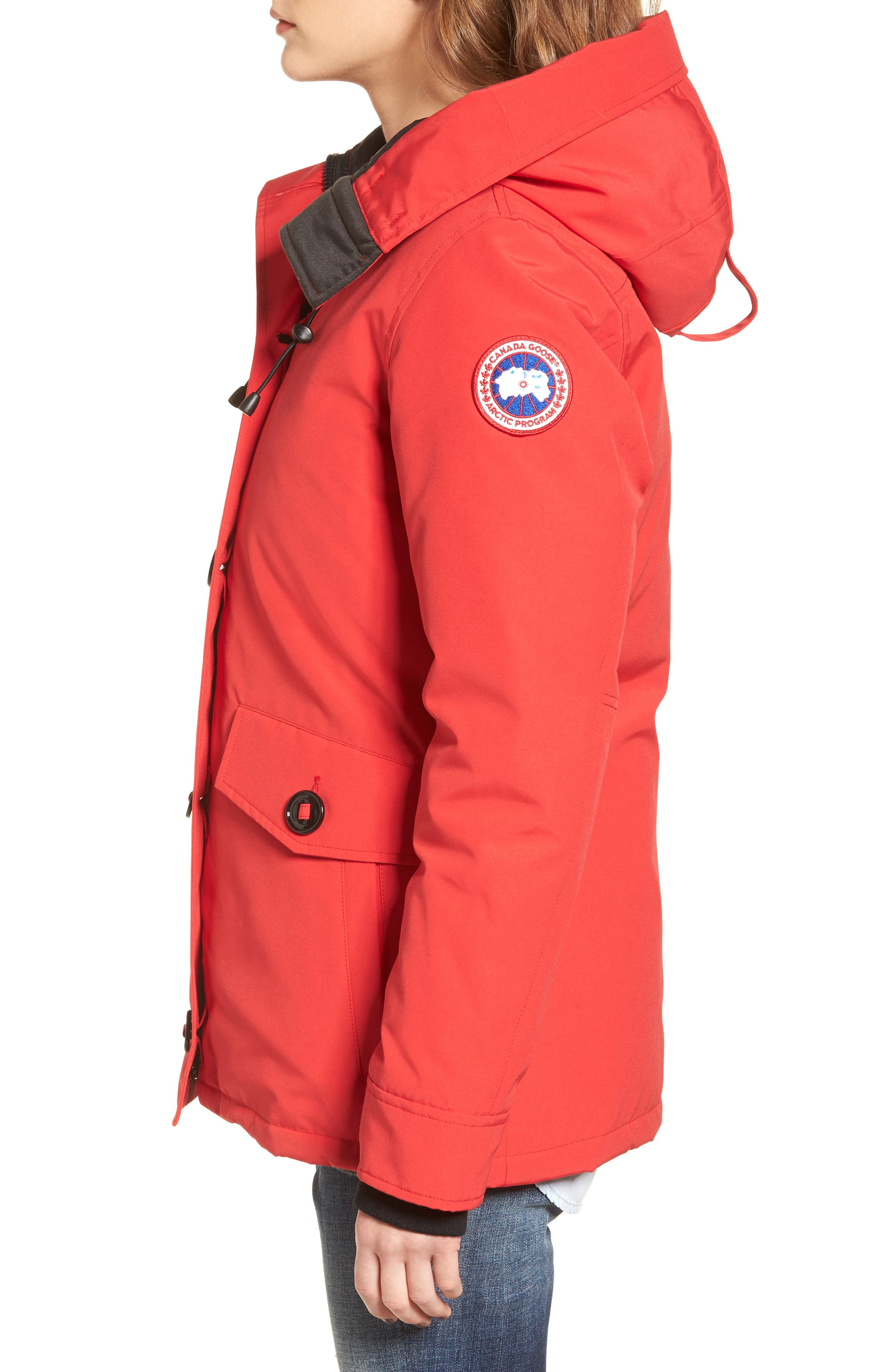 'Rideau' Slim Fit Down Parka,                             Alternate thumbnail 3, color,                             Red