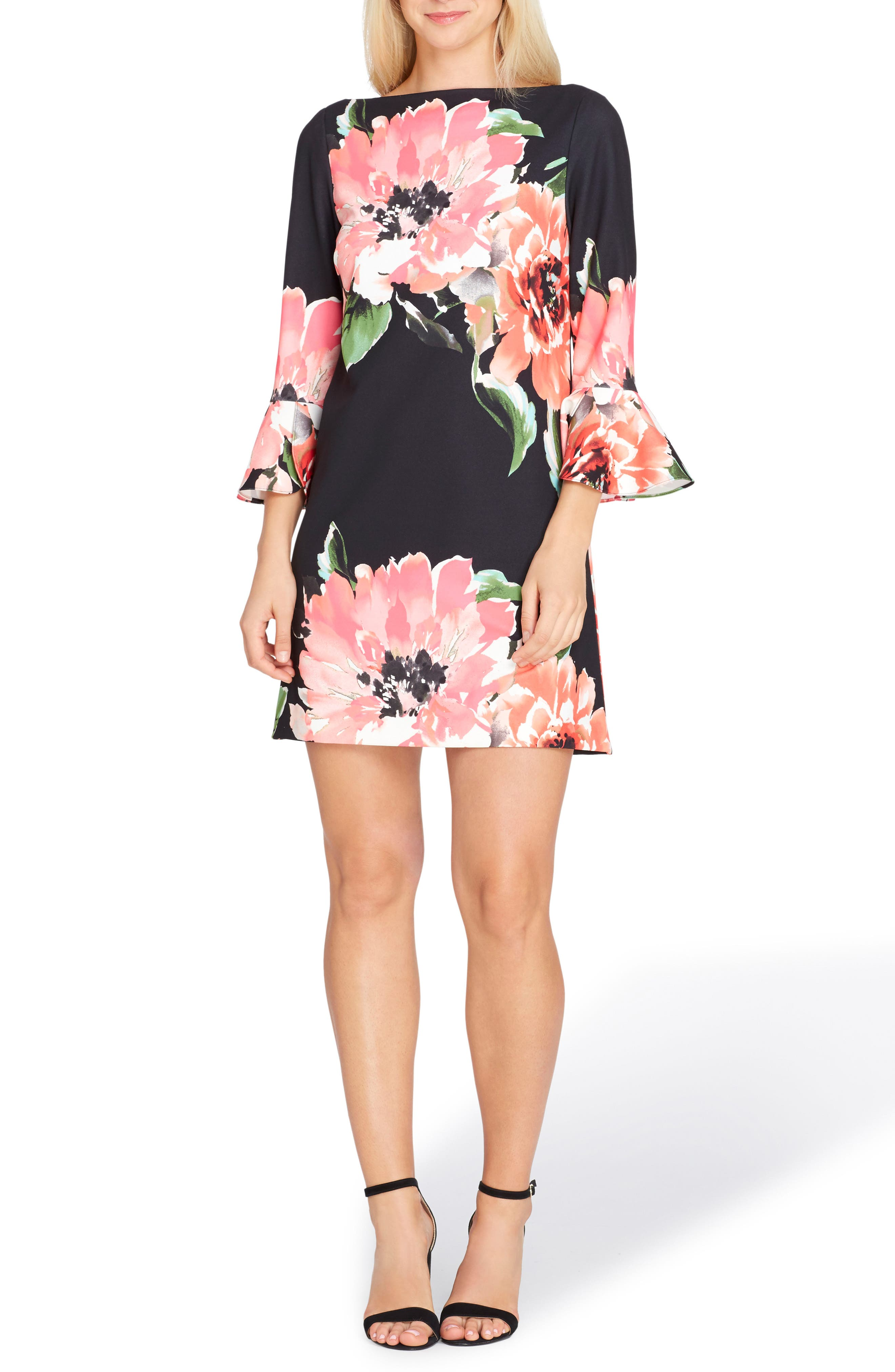 Bell Sleeve Sheath Dress,                         Main,                         color, Black/ Coral/ Pink