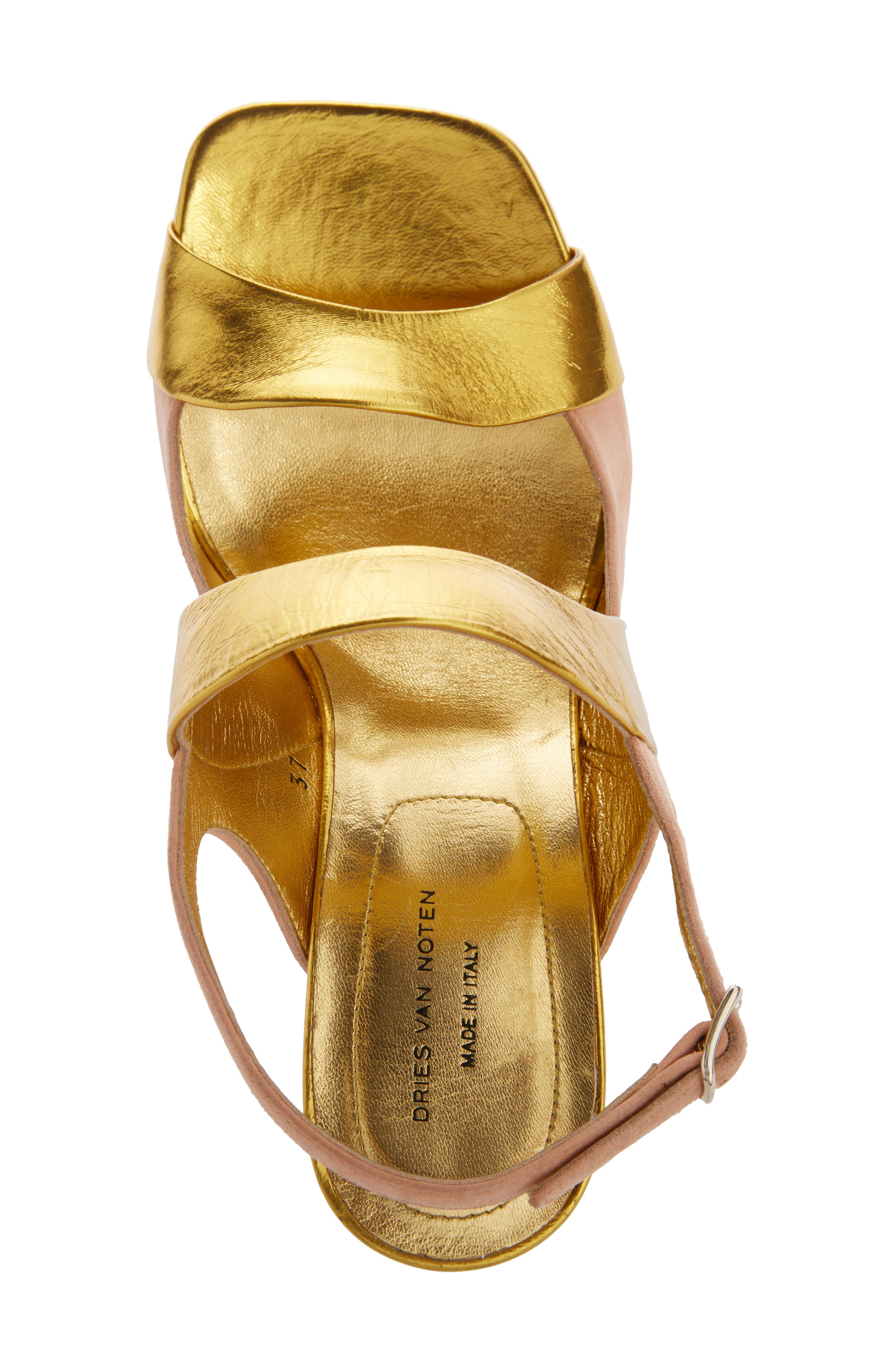 Block Heel Sandal,                             Alternate thumbnail 3, color,                             Gold