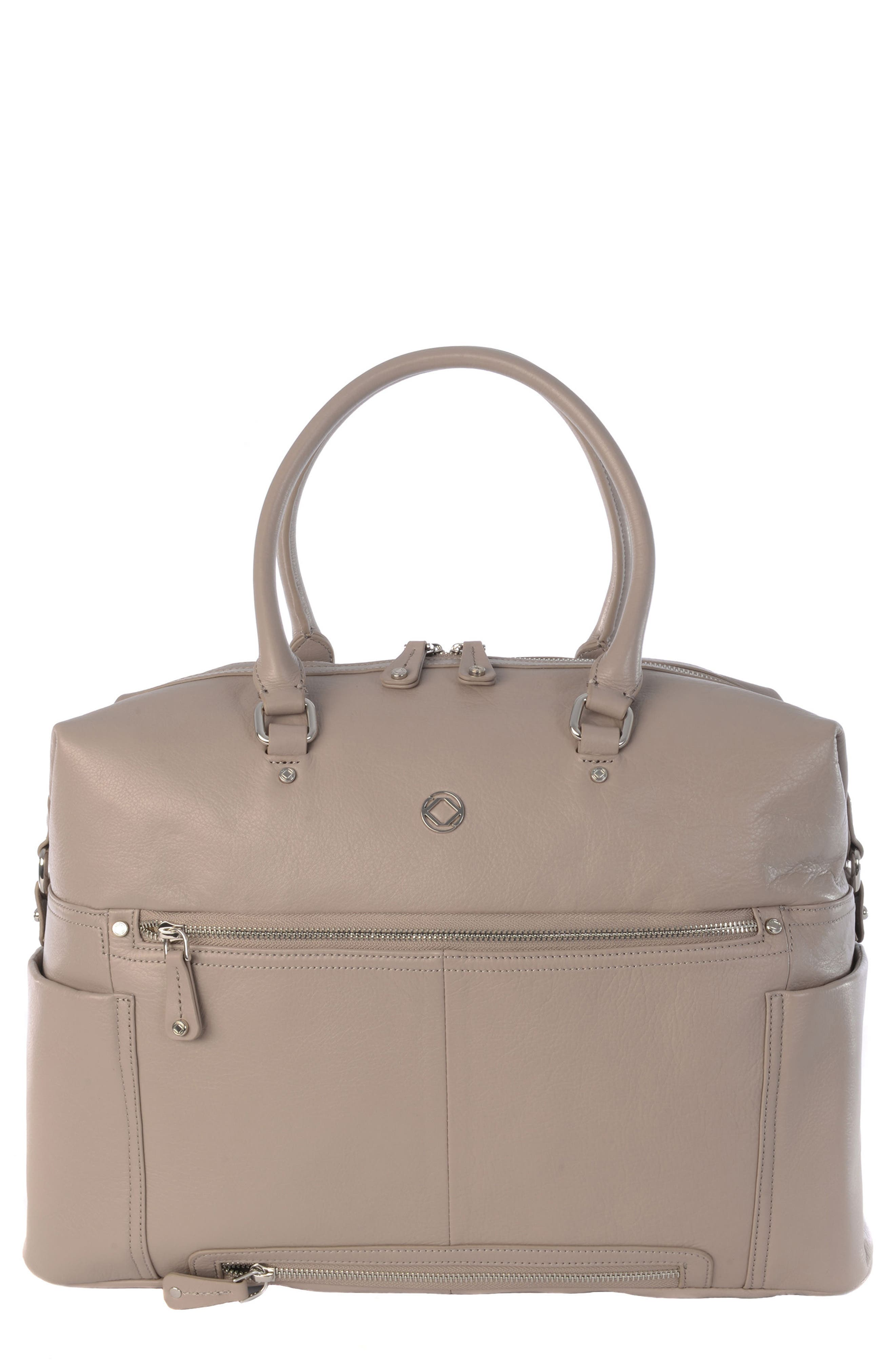 Thea Leather Satchel,                         Main,                         color, Warm Grey/ Silver