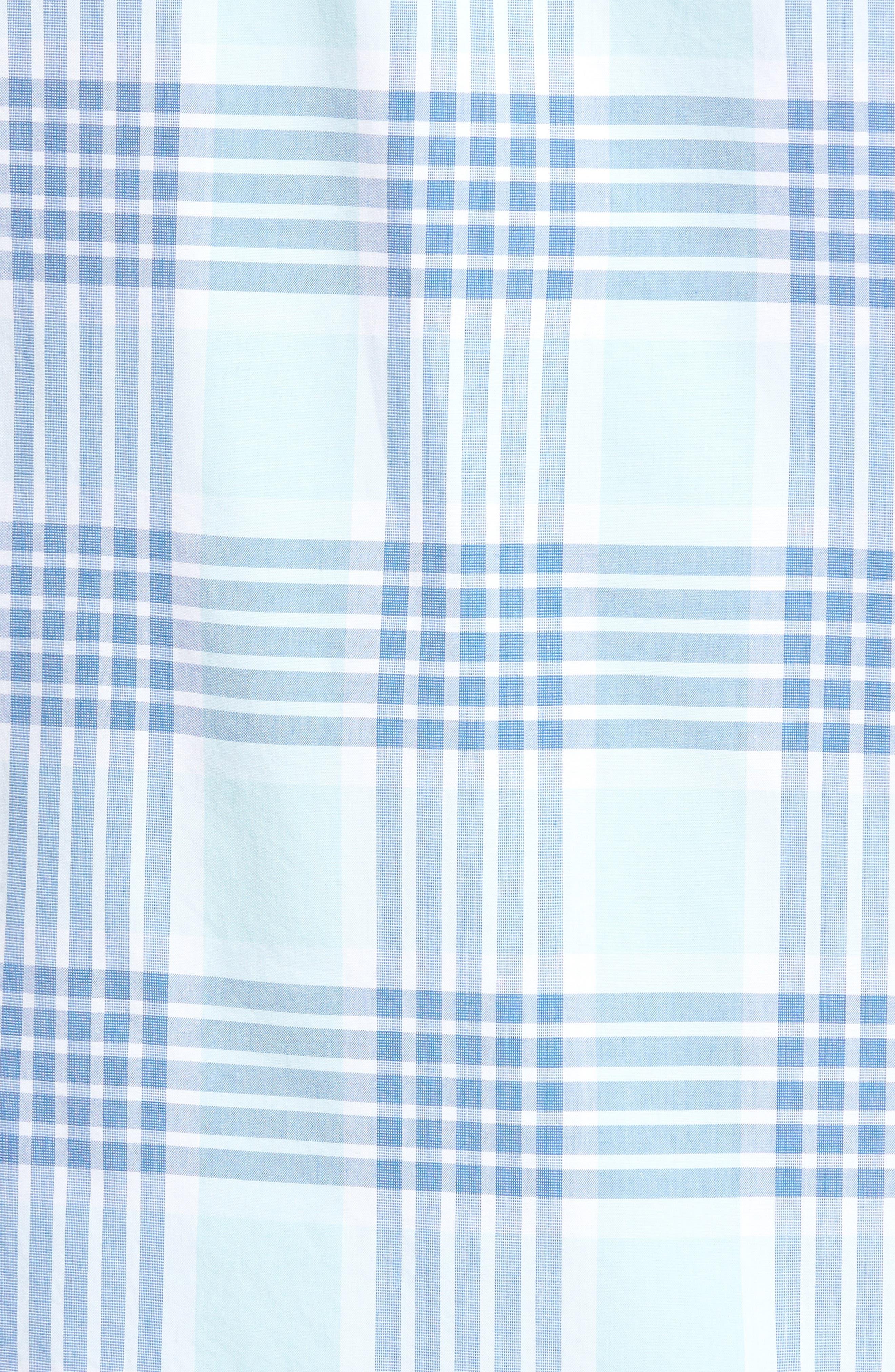 Trim Fit Washed Plaid Sport Shirt,                             Alternate thumbnail 5, color,                             Blue Aquatic Plaid
