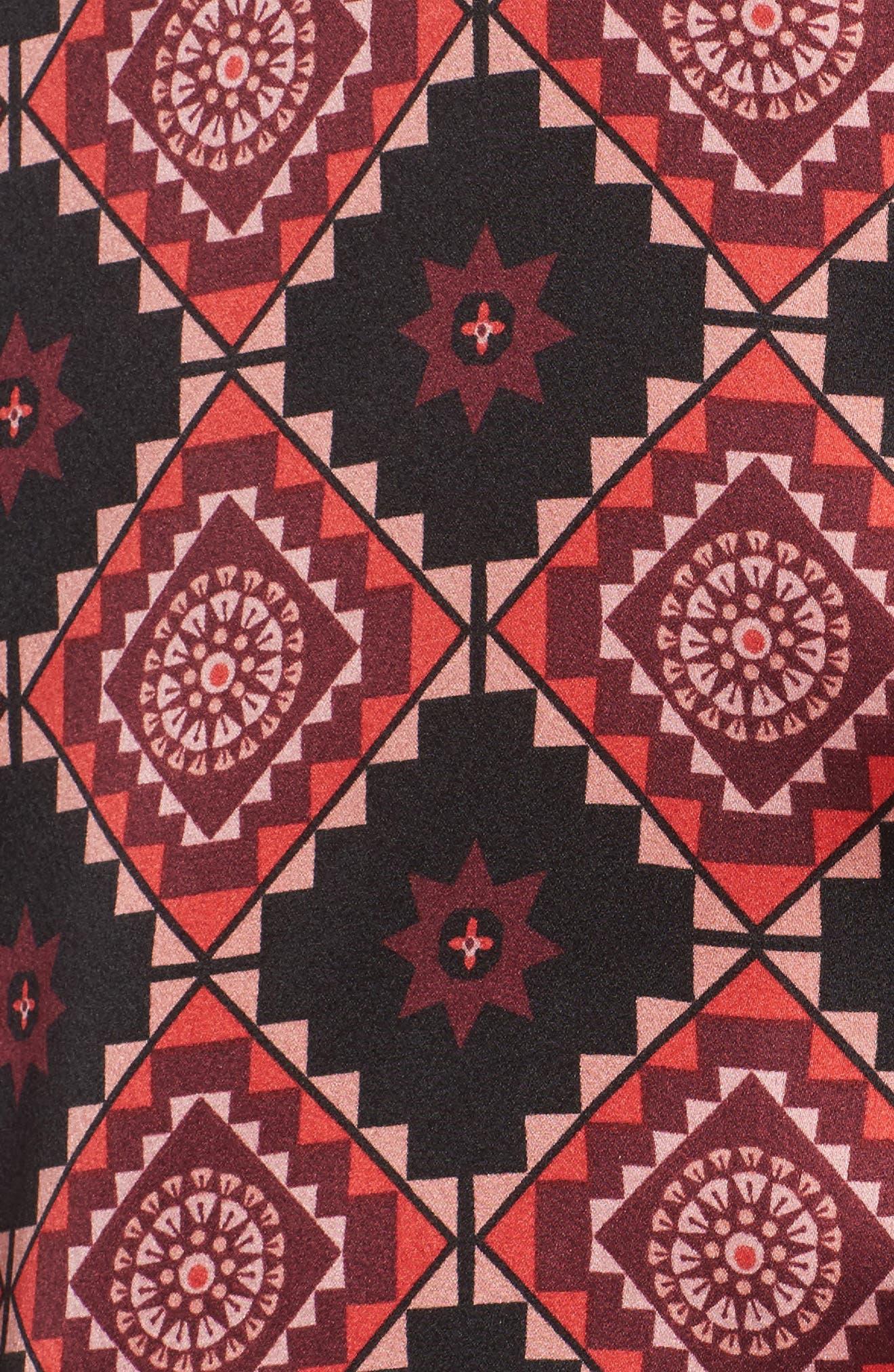 Short Pajamas & Eye Mask Set,                             Alternate thumbnail 5, color,                             Large Windsor Wine Aztec