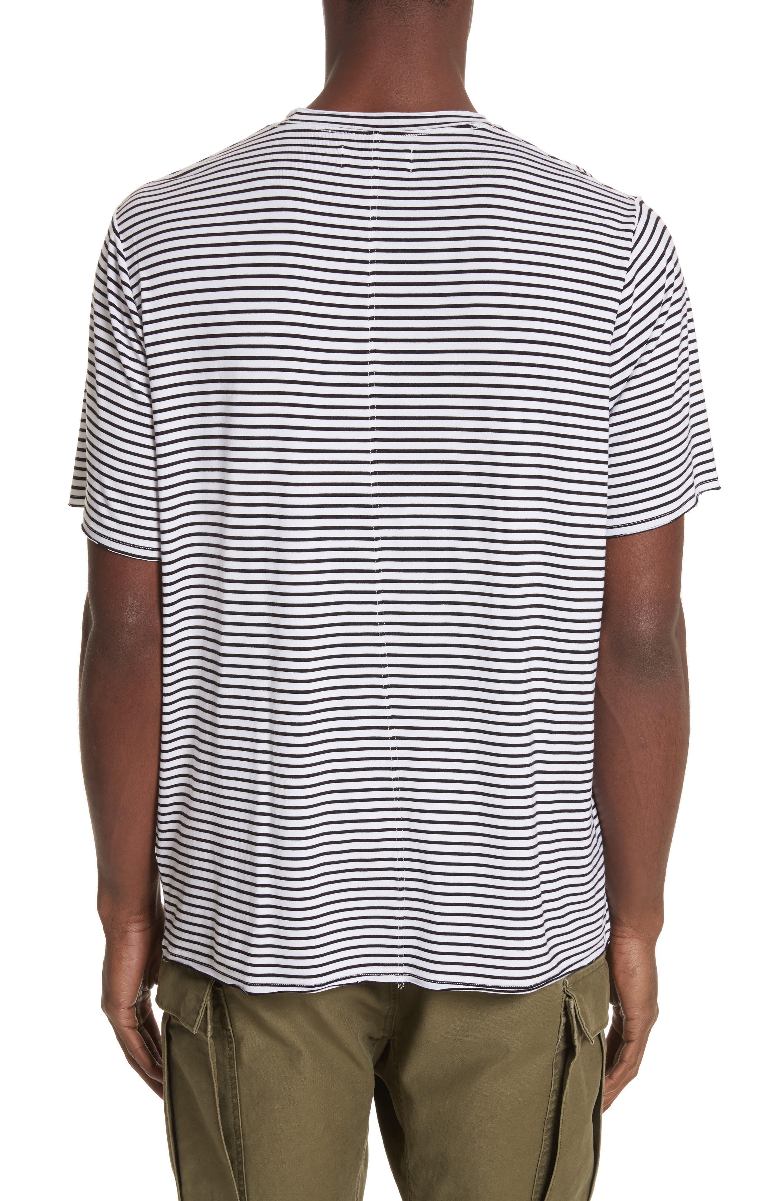 Raw Edge Stripe T-Shirt,                             Alternate thumbnail 2, color,                             Black/ White