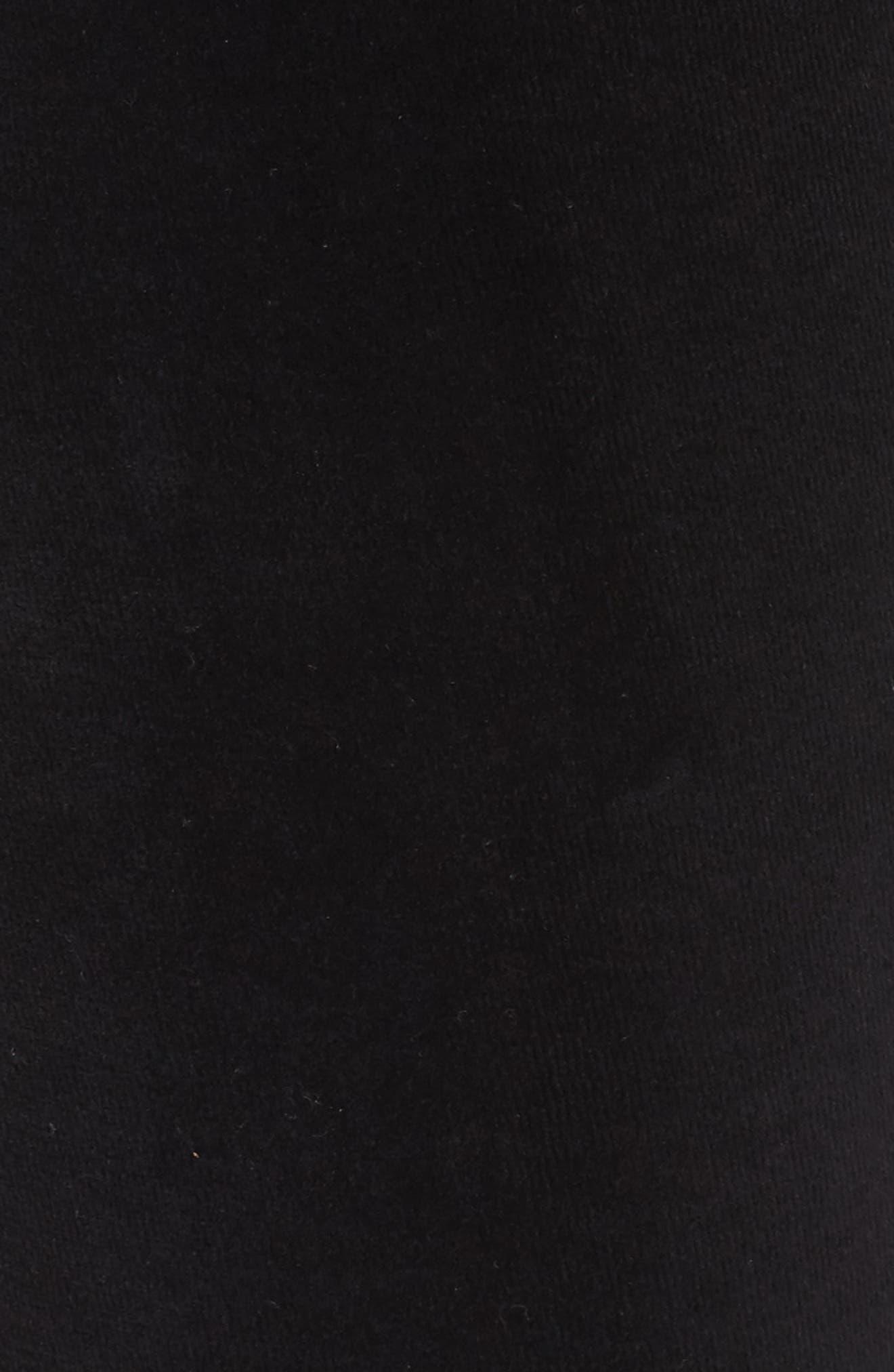 Crop Velour Lounge Pants,                             Alternate thumbnail 5, color,                             Black