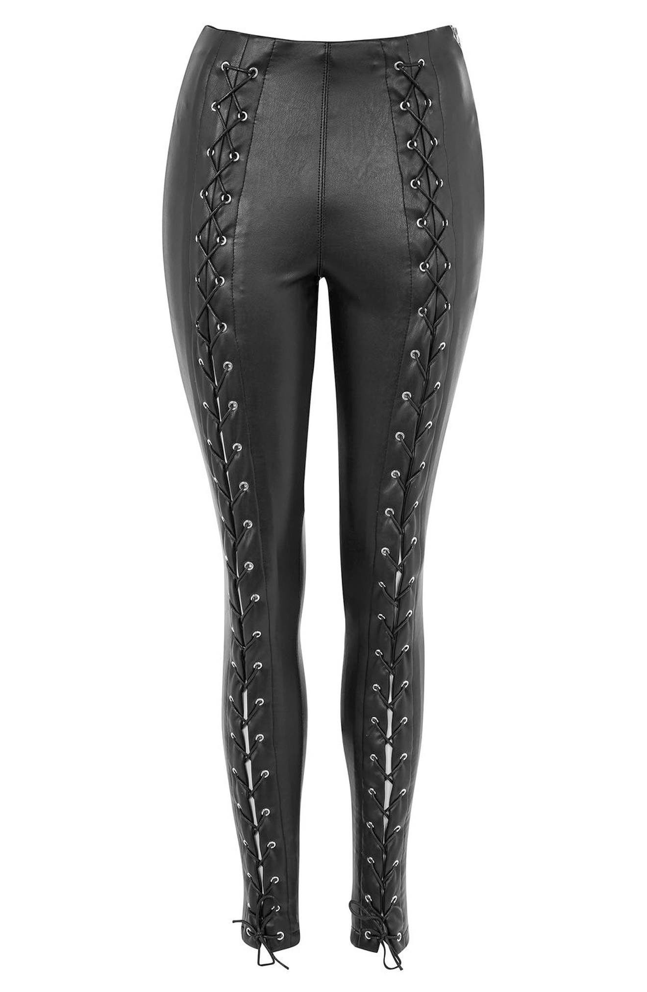 Percy Lace-Up Faux Leather Stretch Pants,                             Alternate thumbnail 4, color,                             Black