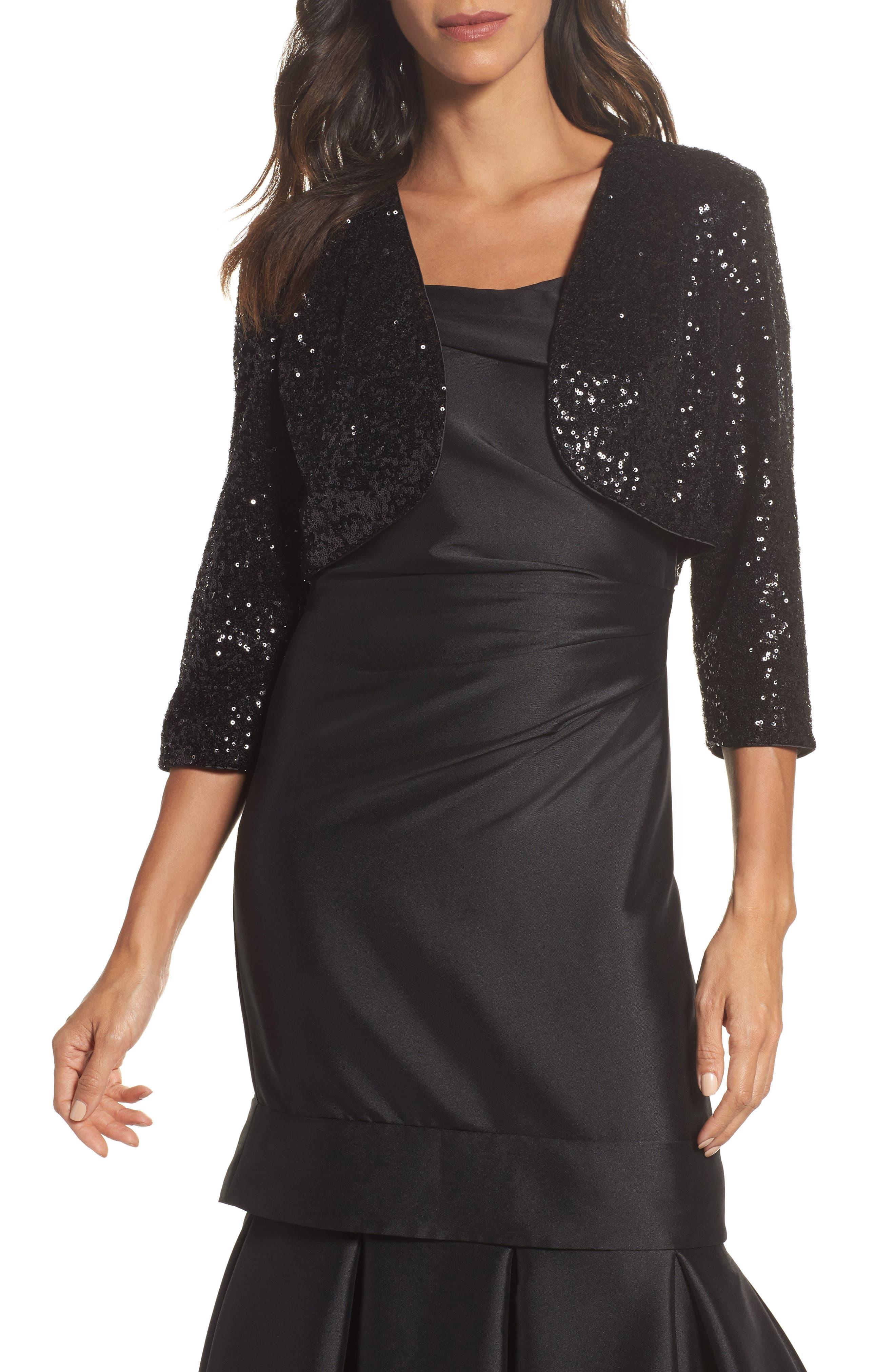 Sequin Bolero,                         Main,                         color, Black
