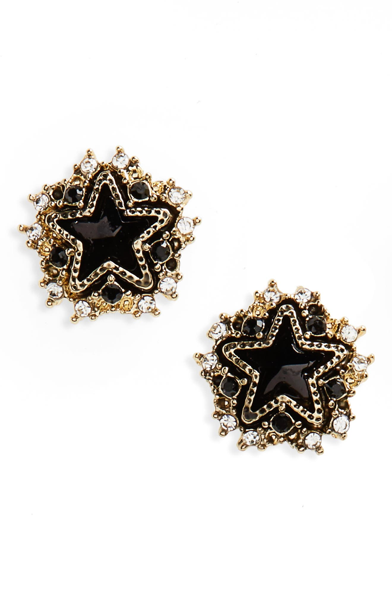Crystal Star Stud Earrings,                         Main,                         color, Gold