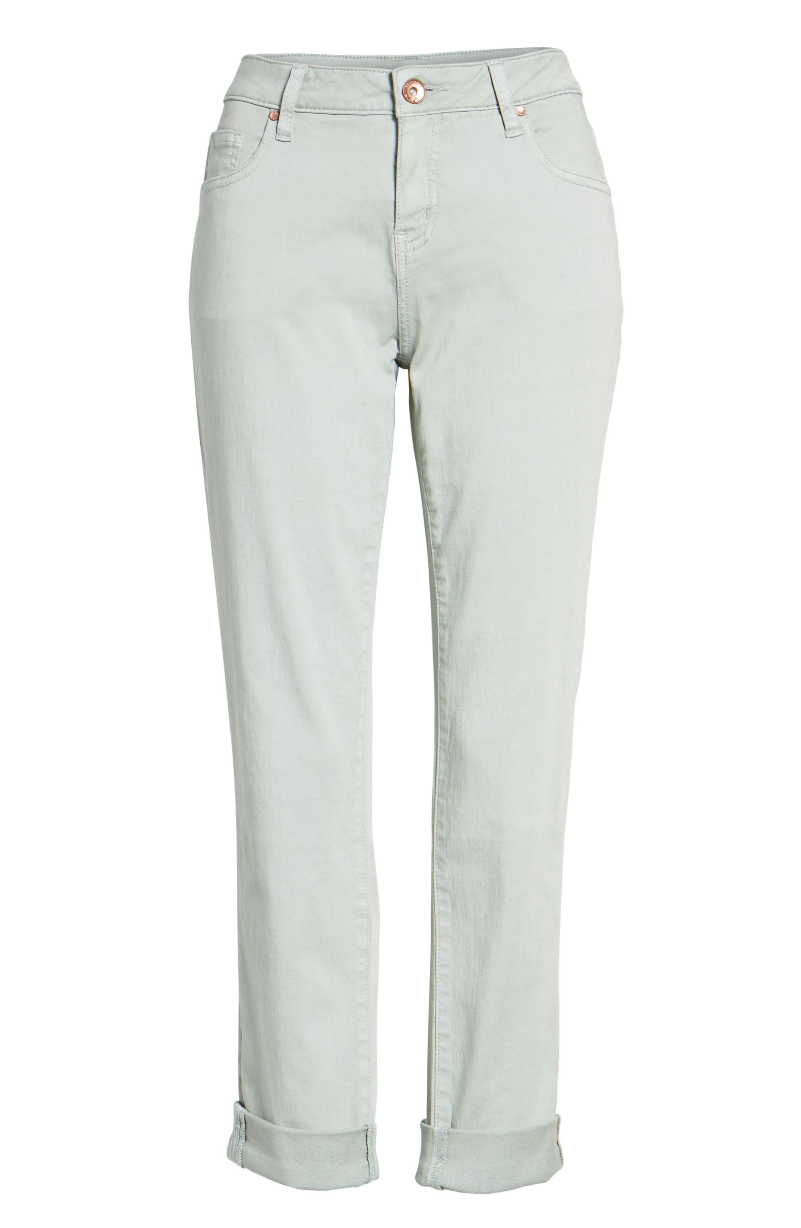 Carter Knit Denim Girlfriend Jeans,                             Alternate thumbnail 6, color,                             Beach Glass