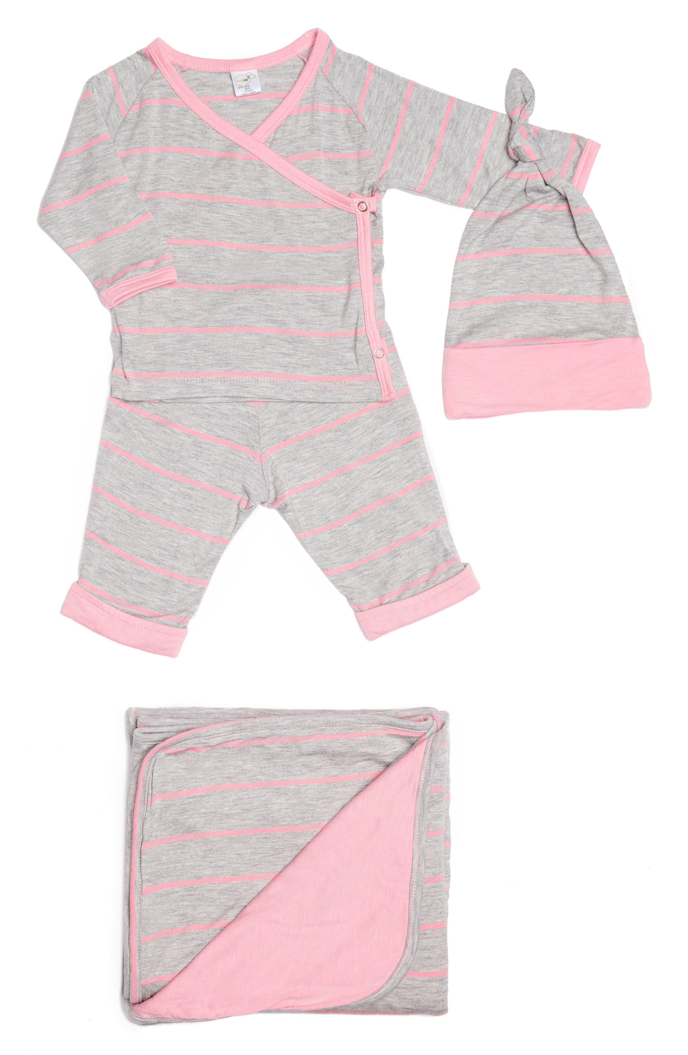 Alternate Image 1 Selected - Baby Grey Kimono Top, Pants, Beanie & Receiving Blanket Set (Baby Girls)